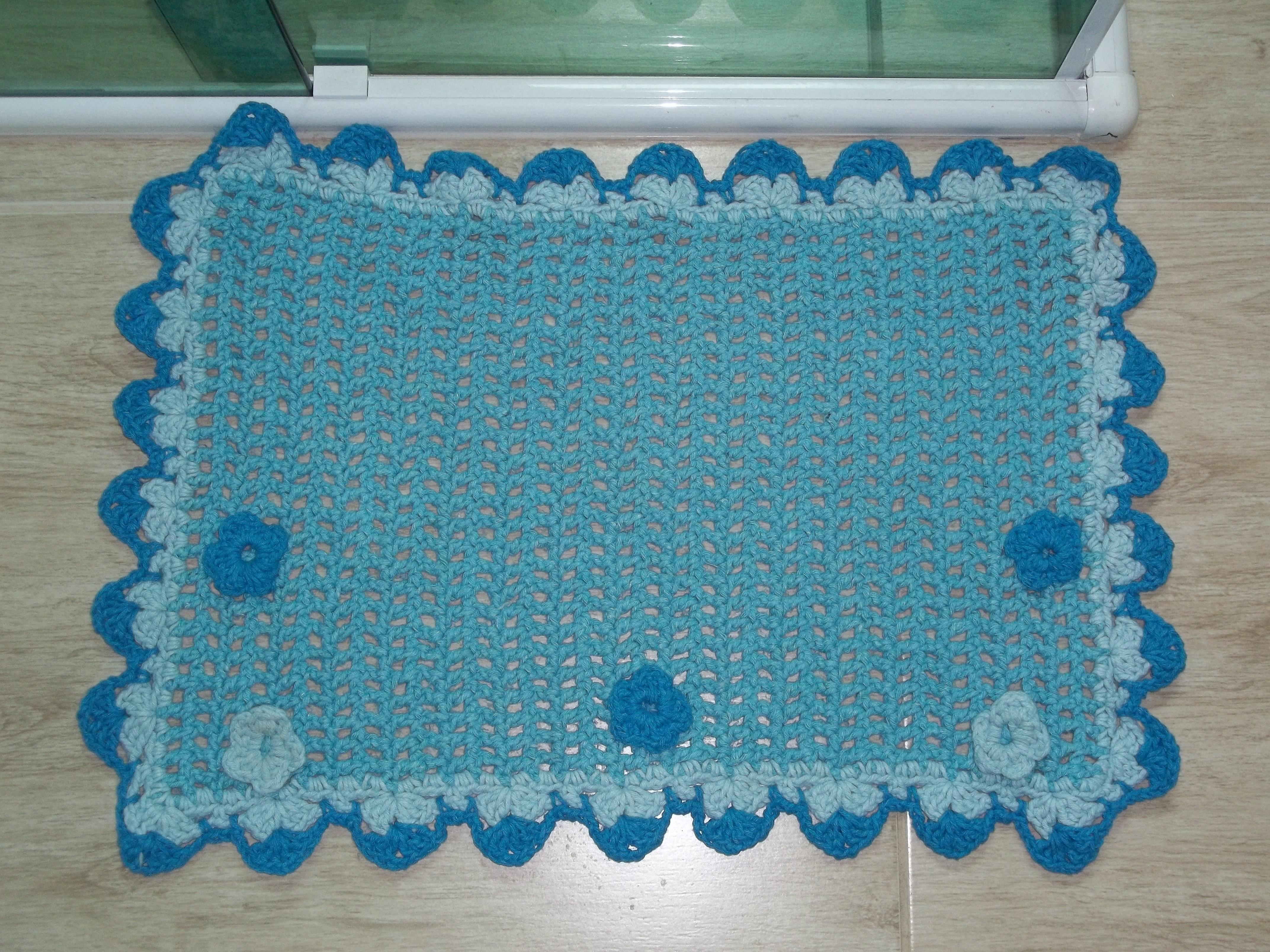 jogo de banheiro flor azul barbante jogo de banheiro em barbante.jpg #0C5179 4288x3216 Banheiro Azul