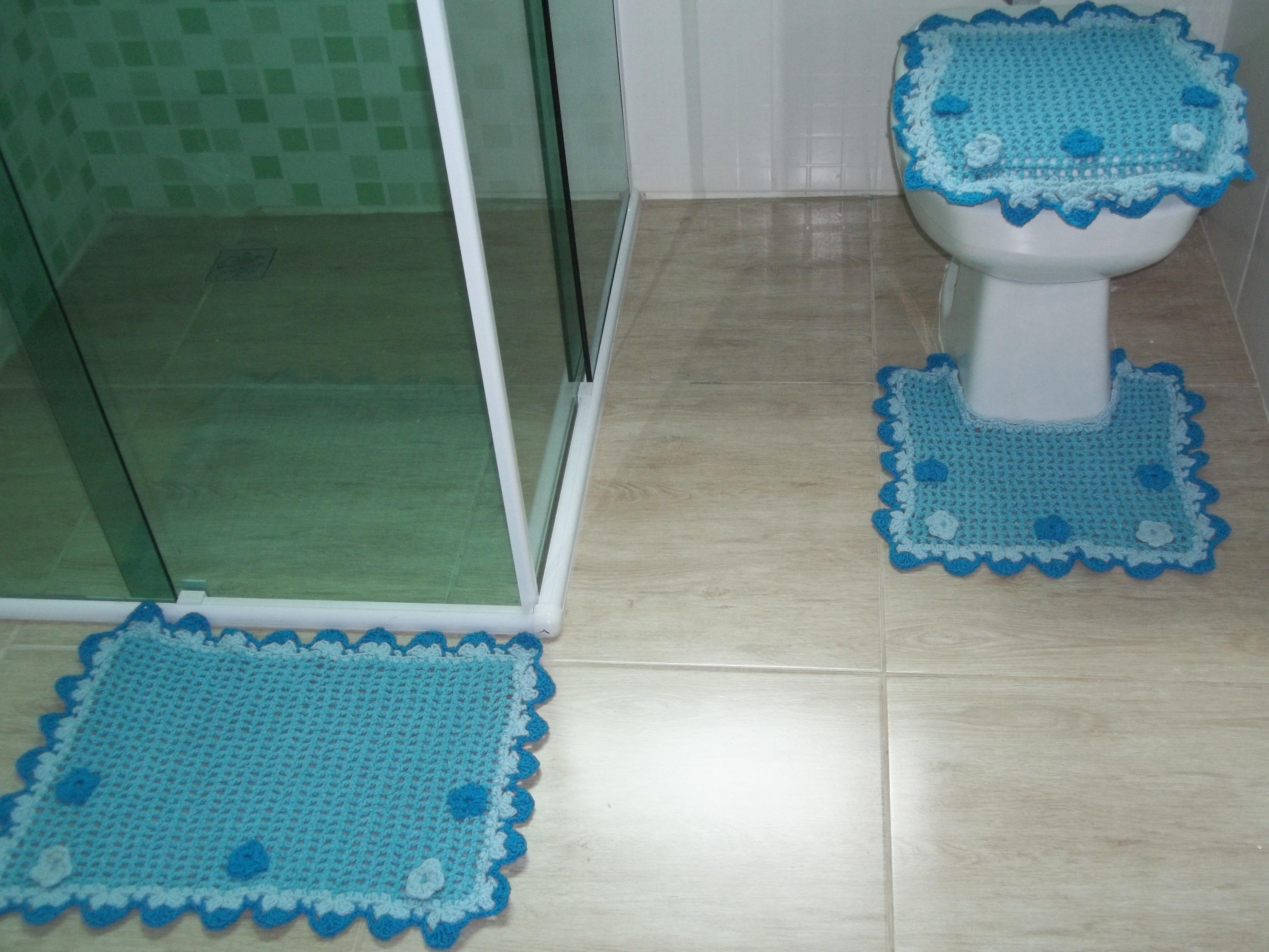 banheiro flor azul barbante tapete banheiro barbante jogo de banheiro  #397F92 4288x3216 Banheiro Cor Azul
