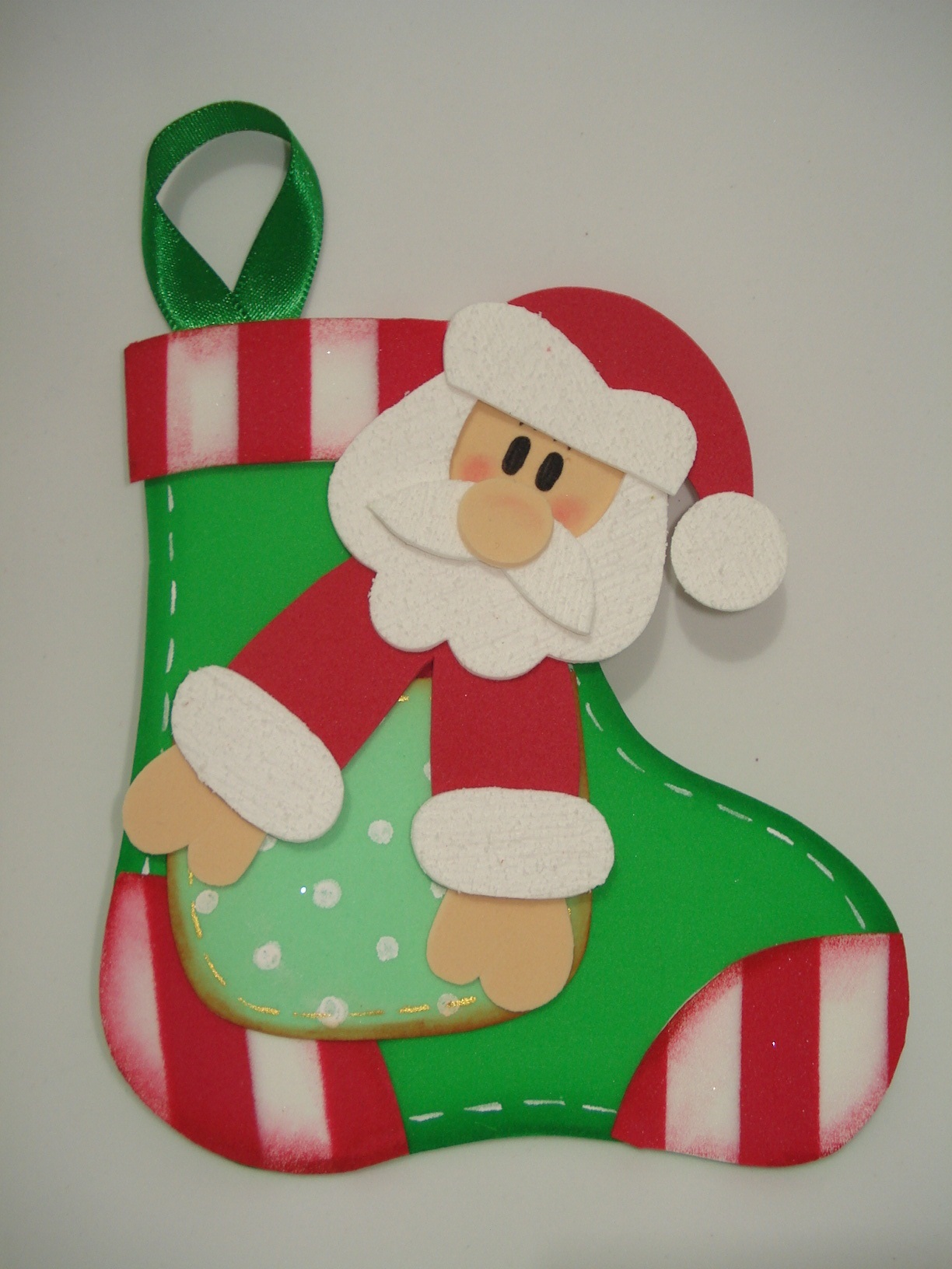 Enfeite De Natal ~ Enfeite de Natal Papai Noel na meia Lá na minha escola Elo7