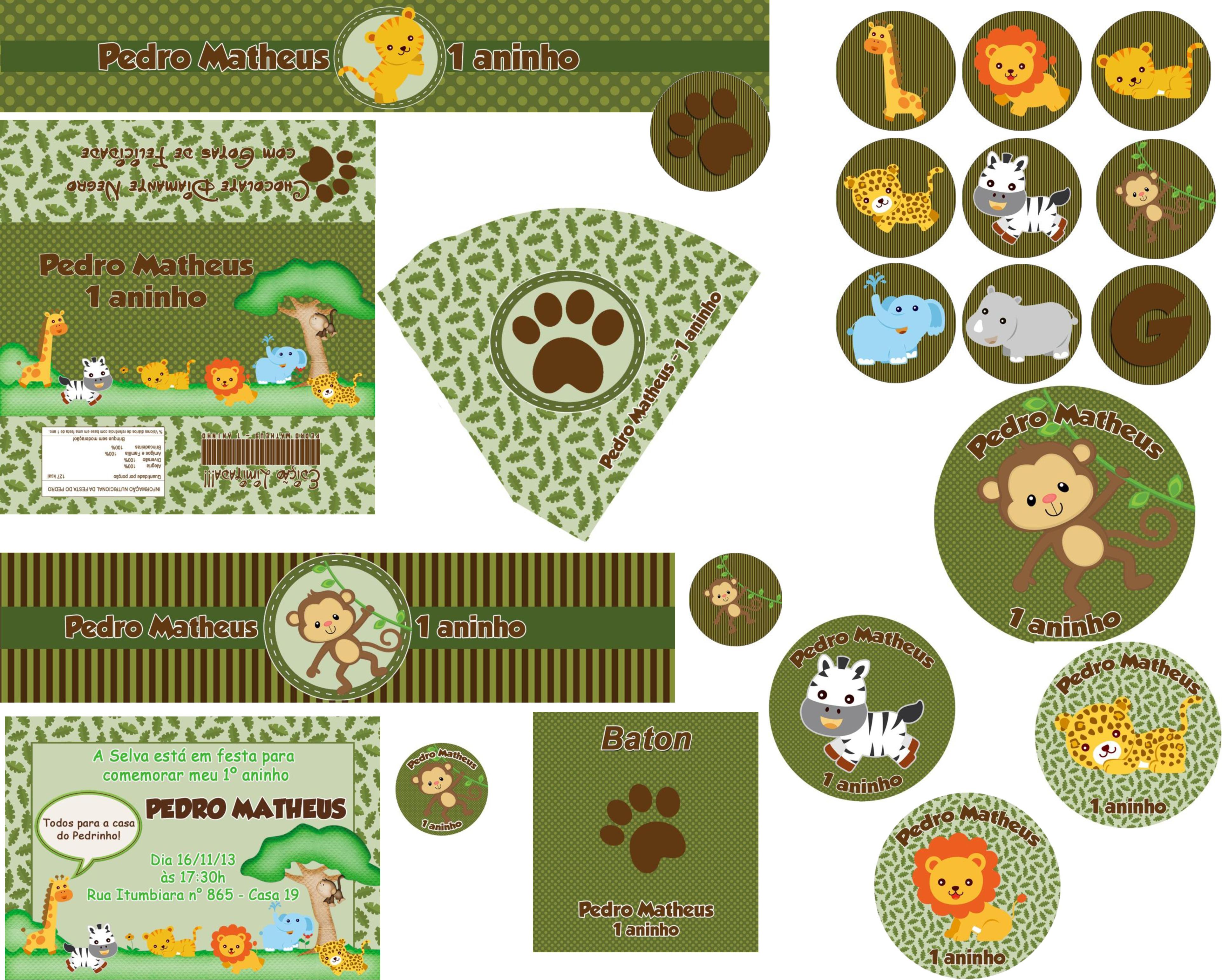 kit digital safari baby convite safari