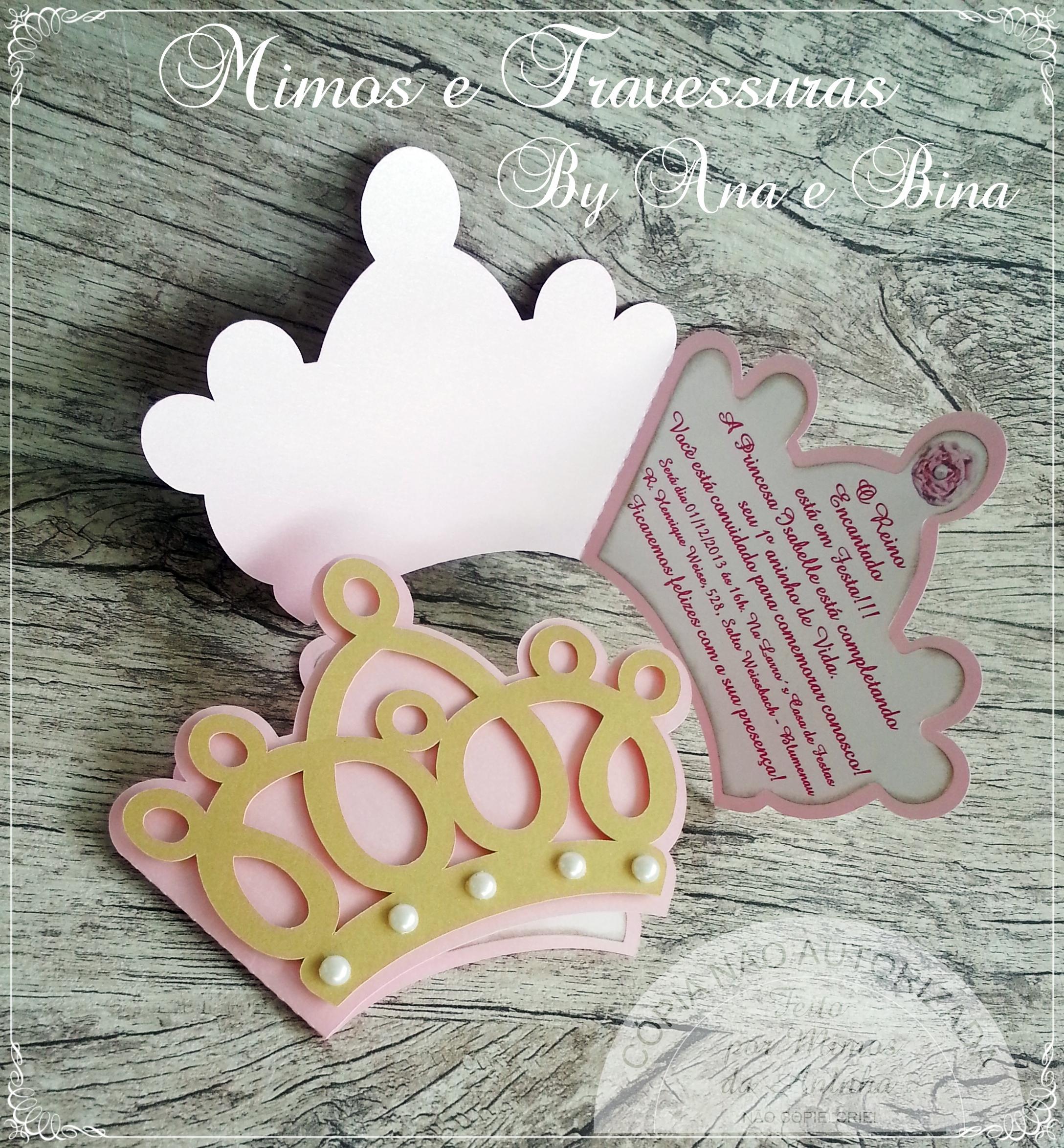 Convite princesa formato em coroa mimos da aninha elo7 - Modelos de coronas ...
