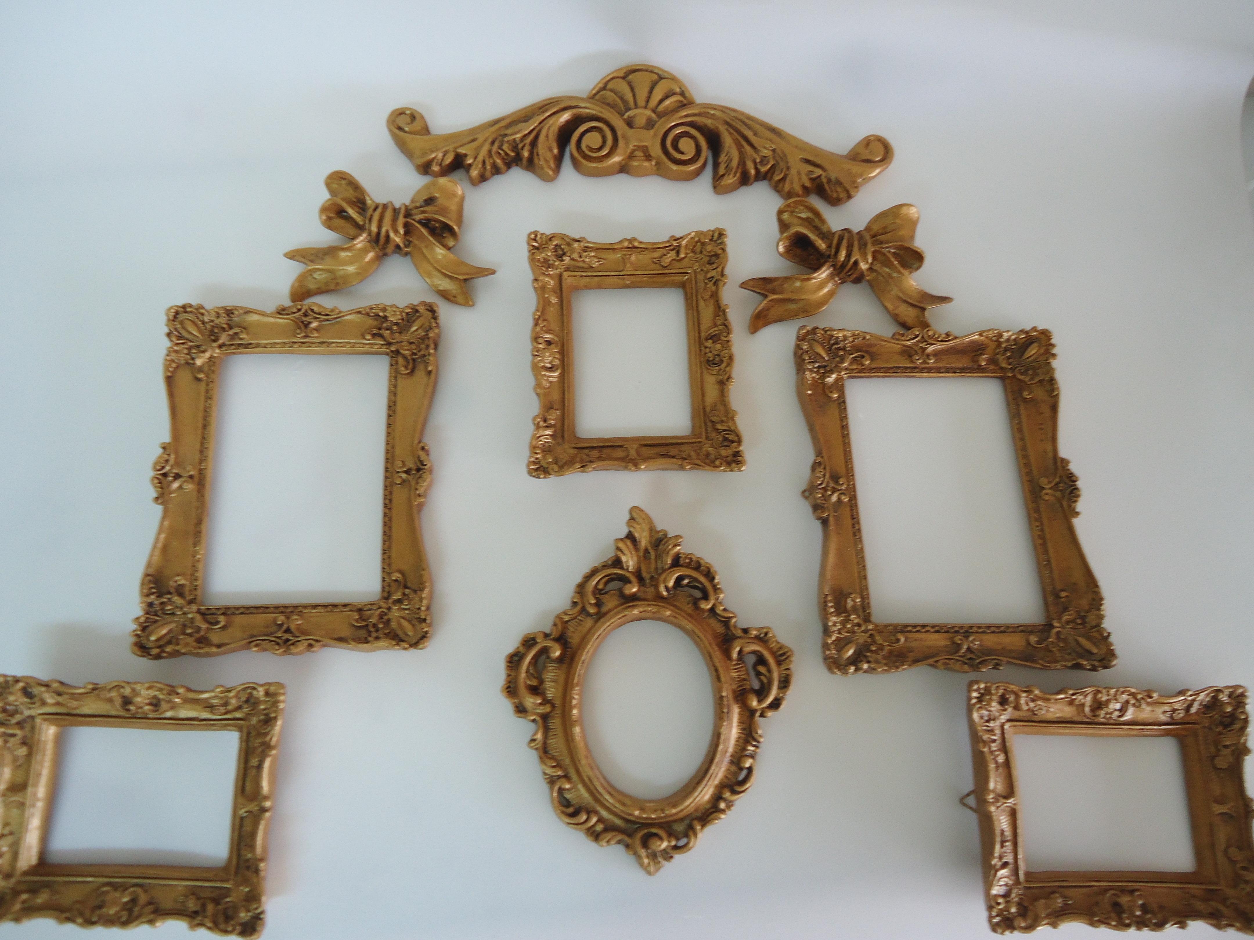 porta retratos espelhos ouro velho fuxicando arte em tecido elo7. Black Bedroom Furniture Sets. Home Design Ideas