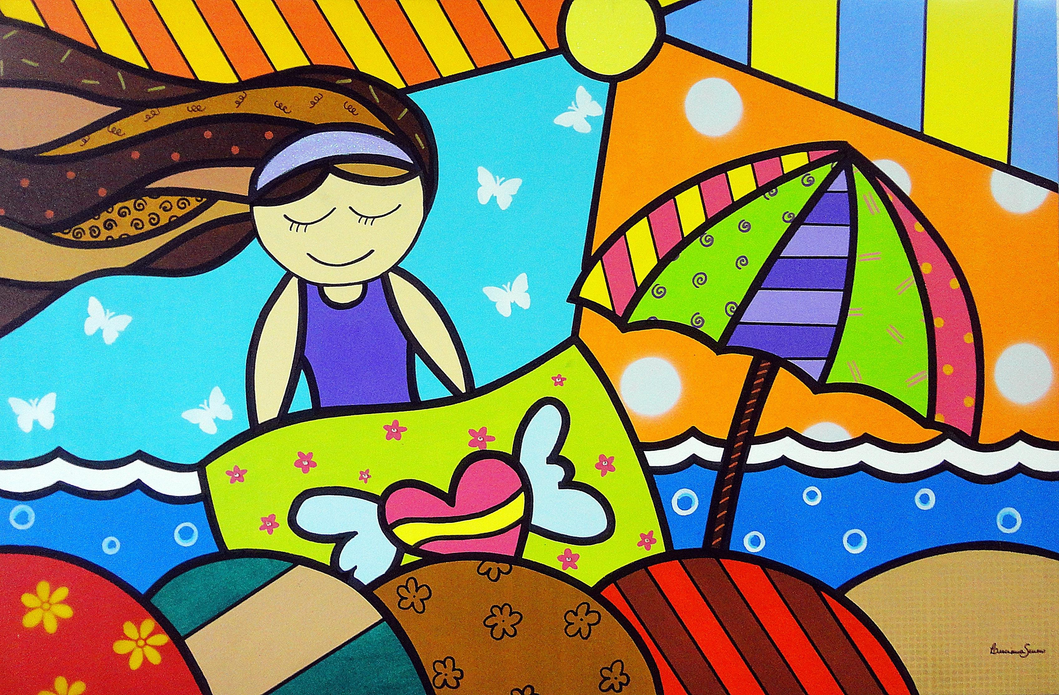 Painel Sol e Mar ATELIÊ DE ARTES PLÁSTICAS BY LUCIANA SEVERO  #B5BF0C 3393x2229