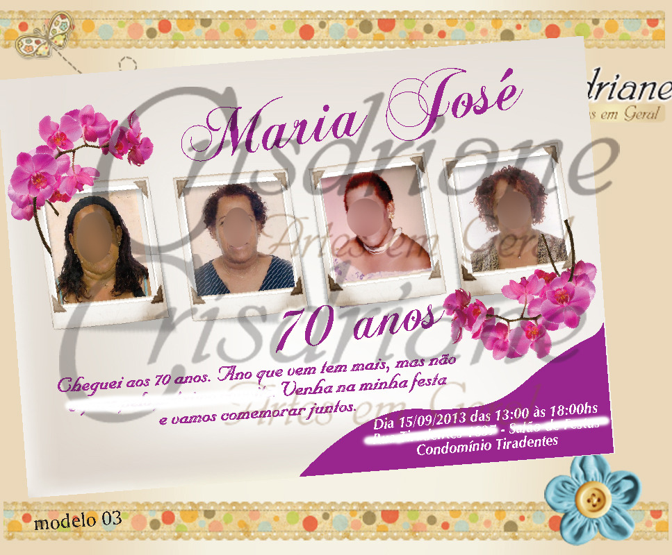 Convite Aniversario 70 Anos Feminino Convite 70 Anos | Elo7
