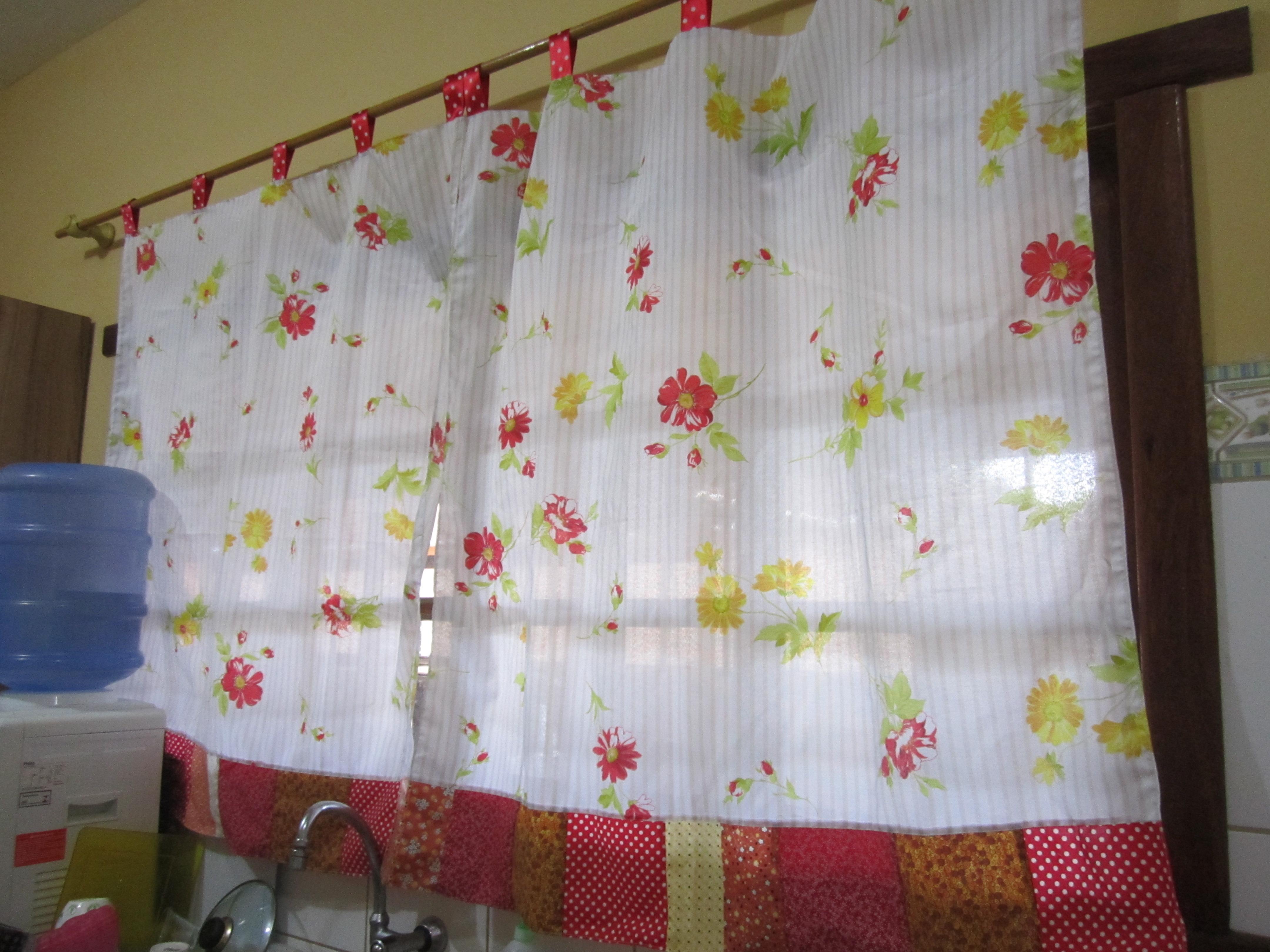 Cortinas em patchwork meu lar doce arte elo7 for Cortinas para aulas