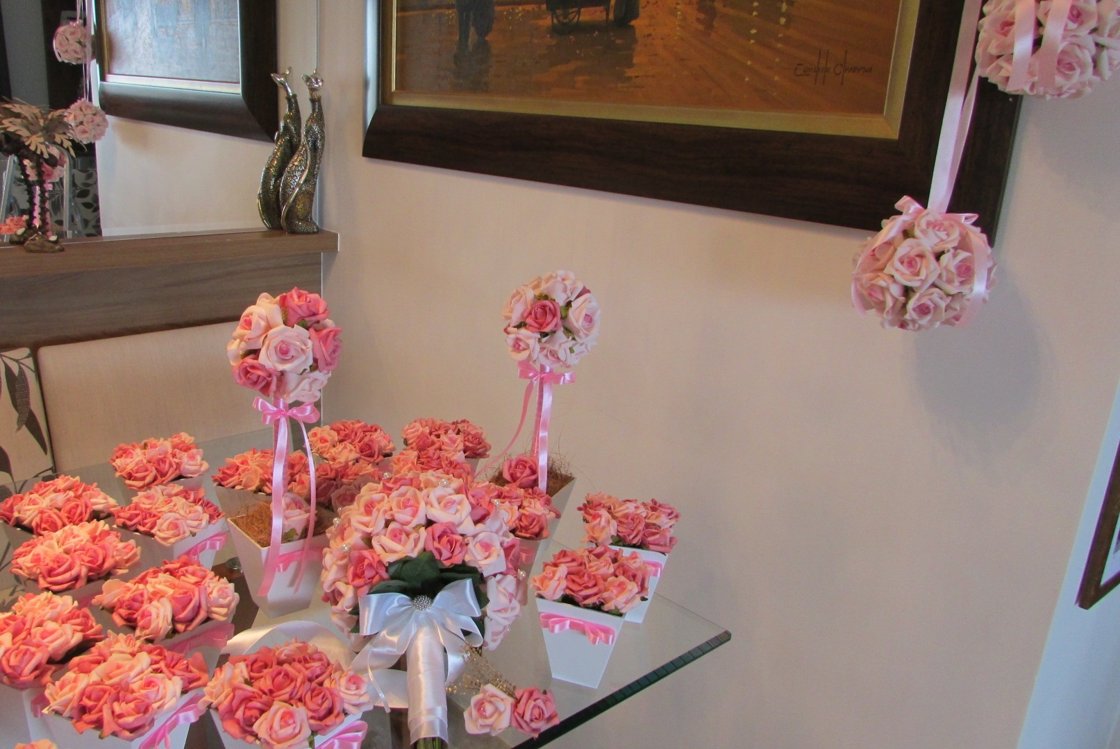 Kit noiva bouquet arranjos centro mesa rosamorena artes florais elo7 - Mesa centro original ...