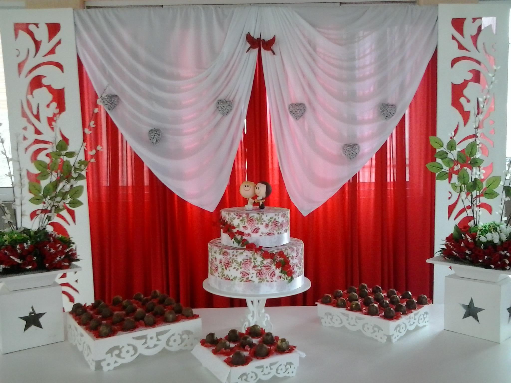 Casamento Provençal Vermelho e Branco Meira Eventos Atelier Analice Meira Elo7 -> Decoração De Casamento Simples Com Tnt Vermelho E Branco