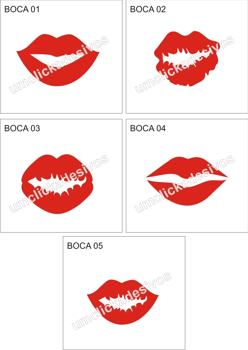 Artesanato Feltro Passo A Passo ~ adesivo beijo boca Um click adesivos Elo7