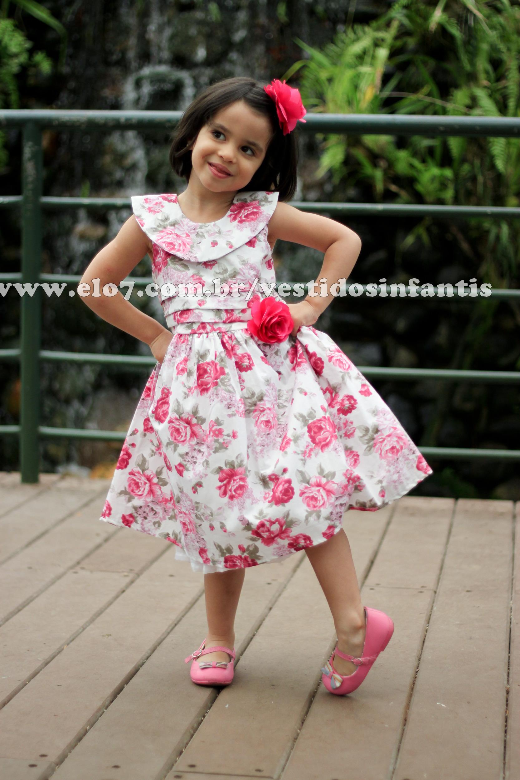 Vestido de Menina Floral Pink   AnaGiovanna Vestidos Infantis   Elo7