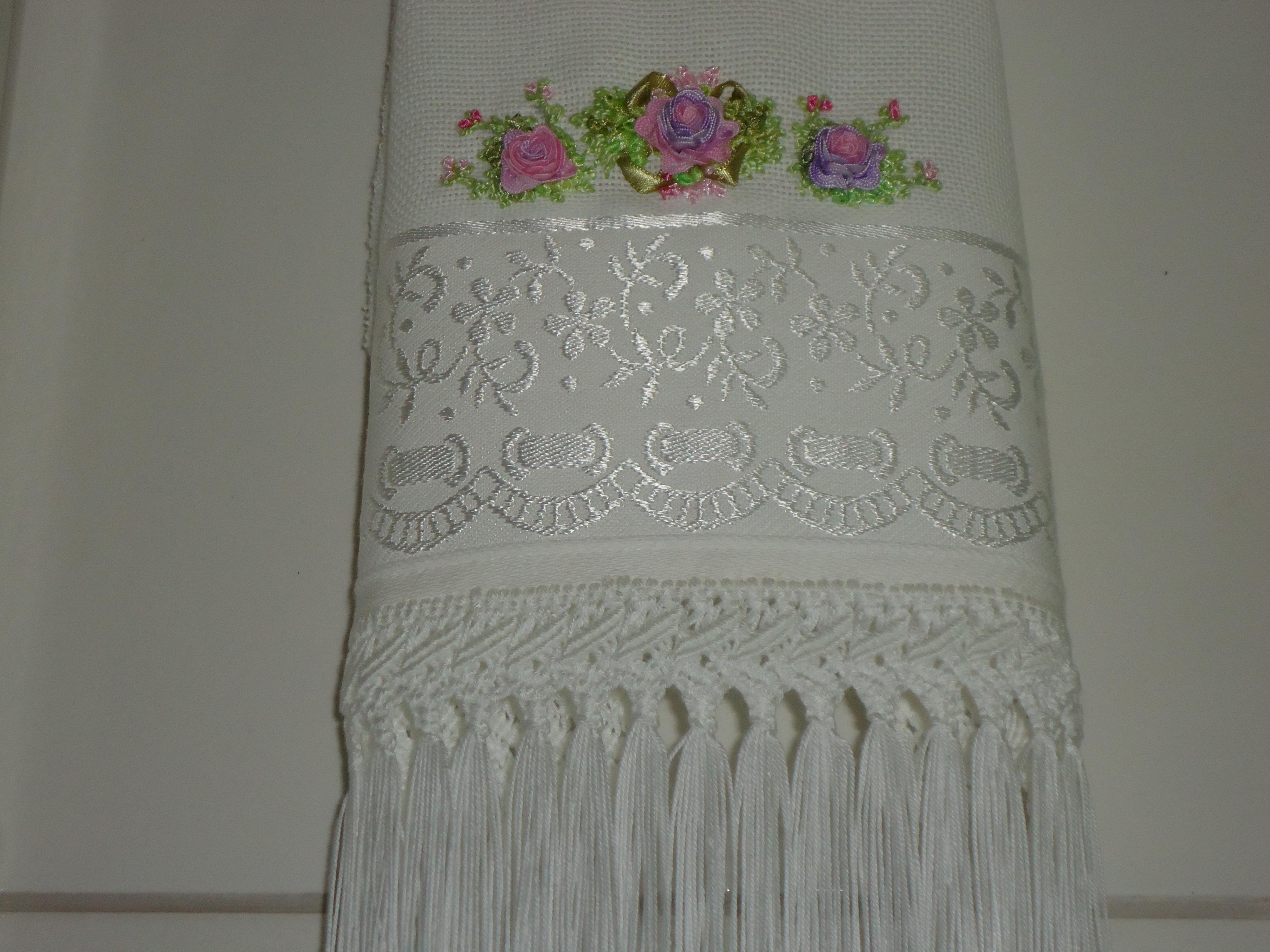 decoracao toalha lavabo:toalha de lavabo bordada com embalagem enxoval toalha de lavabo