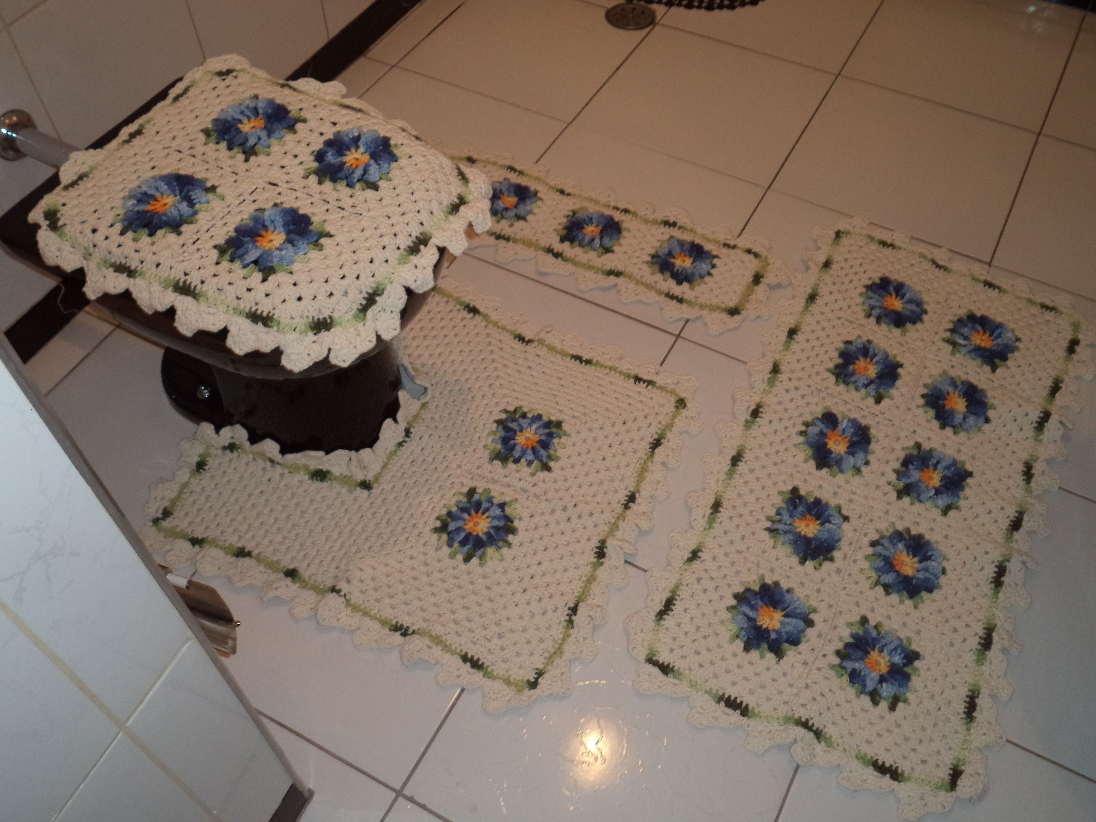 kit jogo de banheiro azul floral jogo para banheiro floral #886543 4608 3456