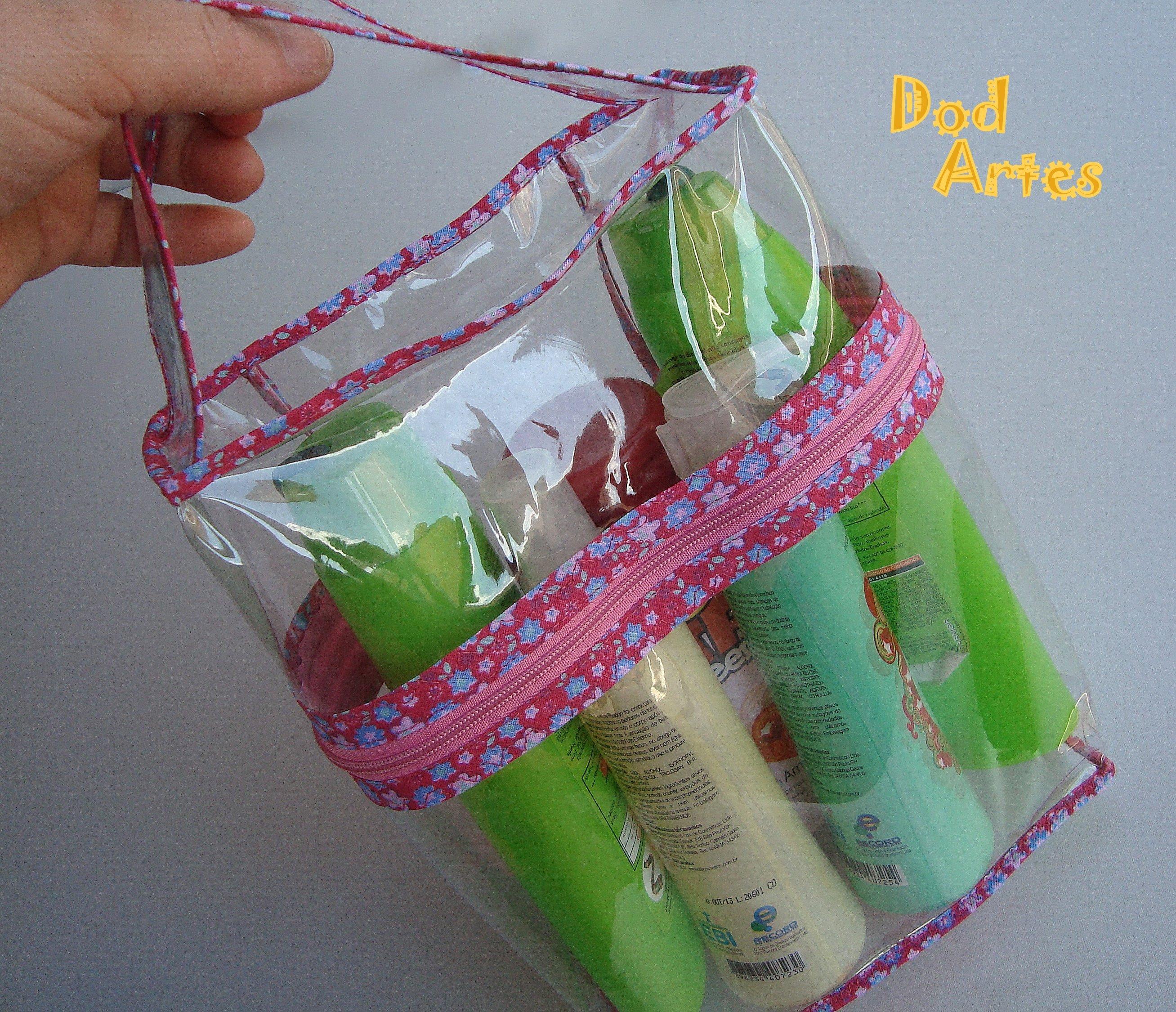 Bolsa De Viagem Em Tecido Passo A Passo : N?cessaire transparente para shampoo dod artes