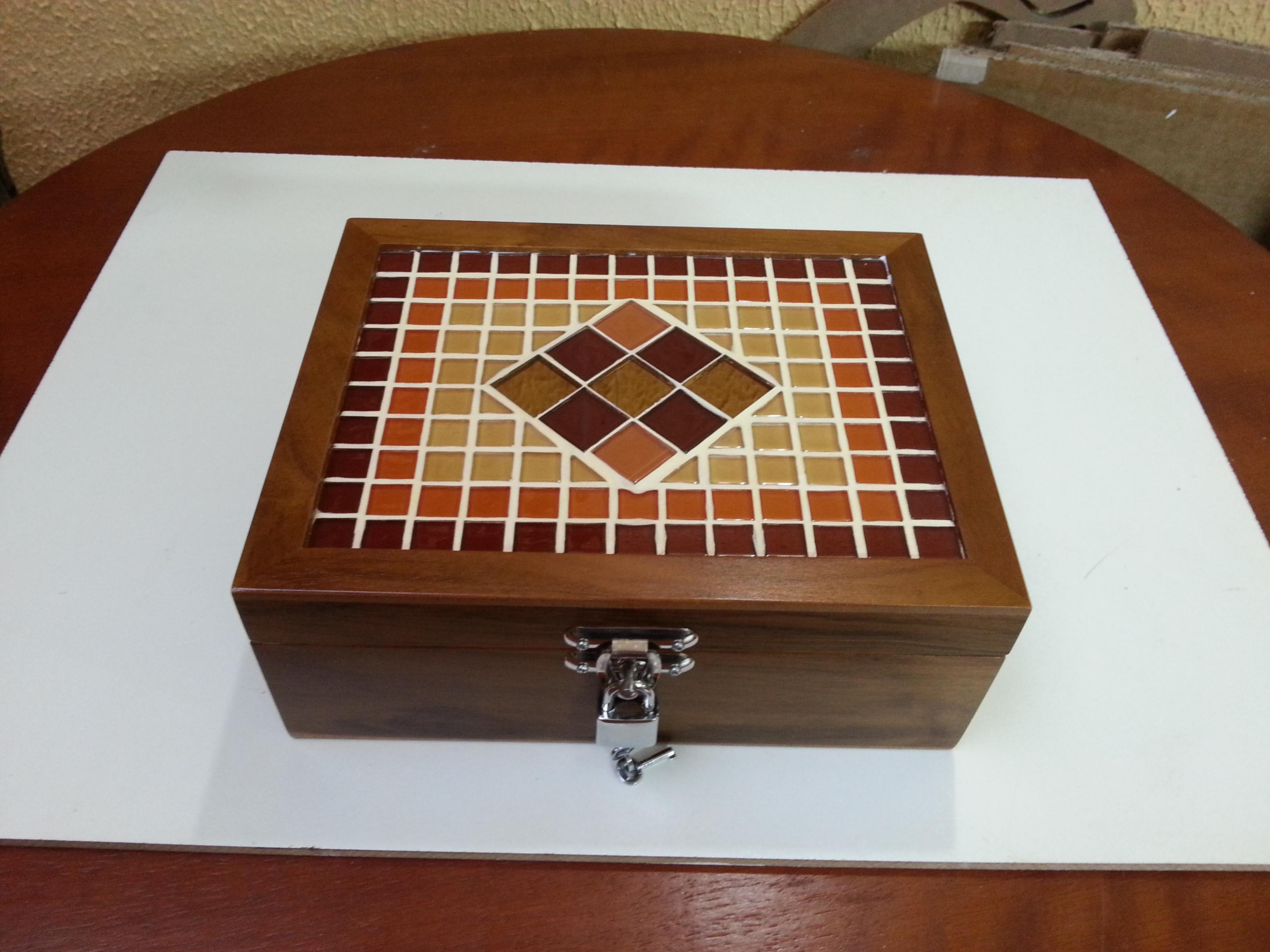 caixa madeira mosaico p joias caixa de cha caixa madeira mosaico p  #68371D 3264x2448