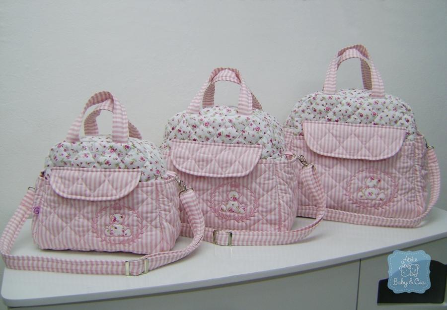Bolsa De Tecido Bebe : Kit bolsas de beb? p m g rosa ateli? baby cia elo