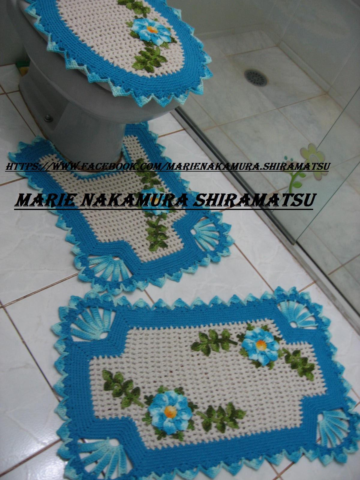 Jogo De Banheiro Azul Em Croche : Jogo jardim encantado azul turquesa marie nakamura
