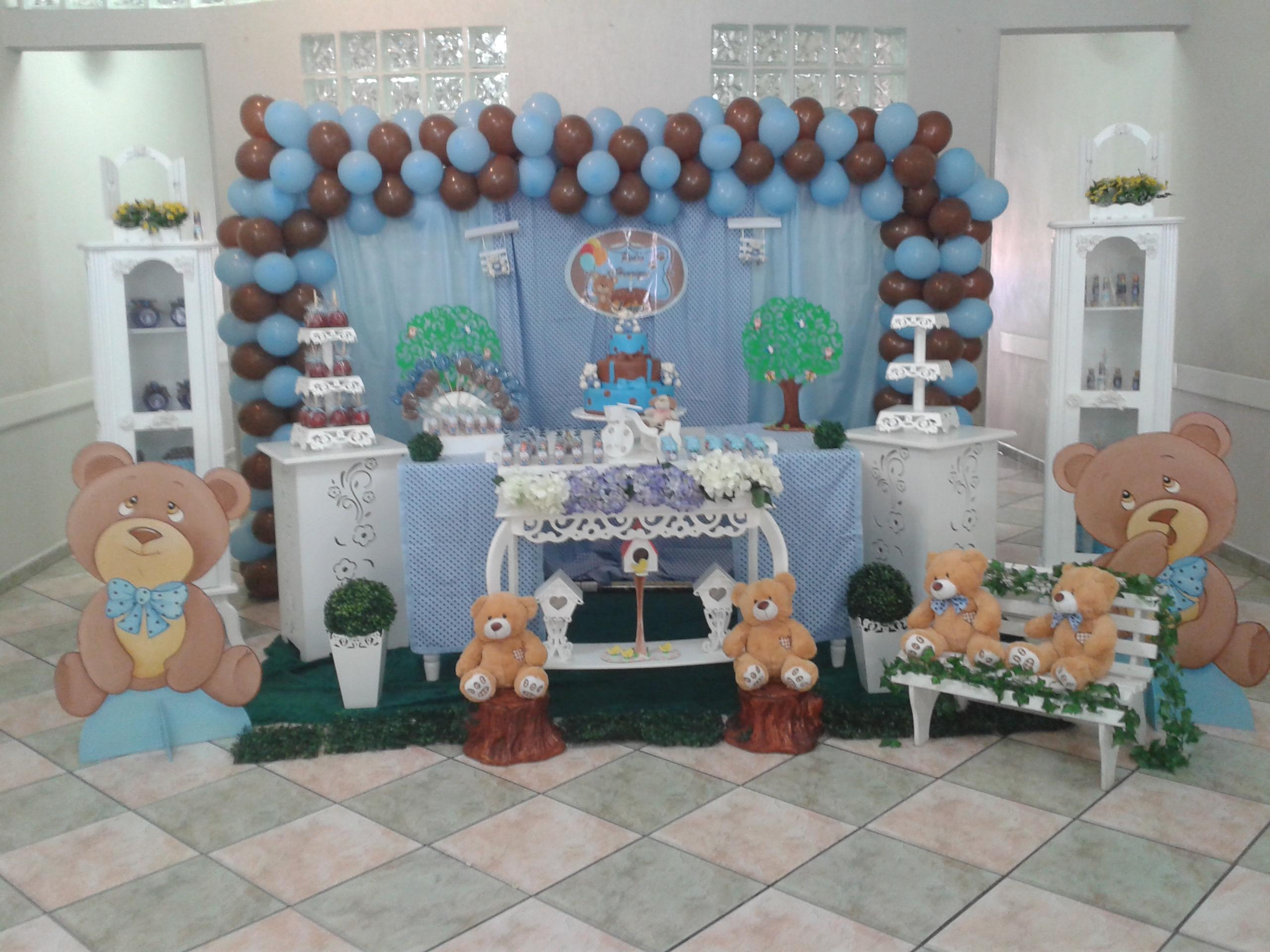 decoracao festa urso azul e marrom:marrom e azul Decoração Urso marrom e azul Decoração Urso marrom e