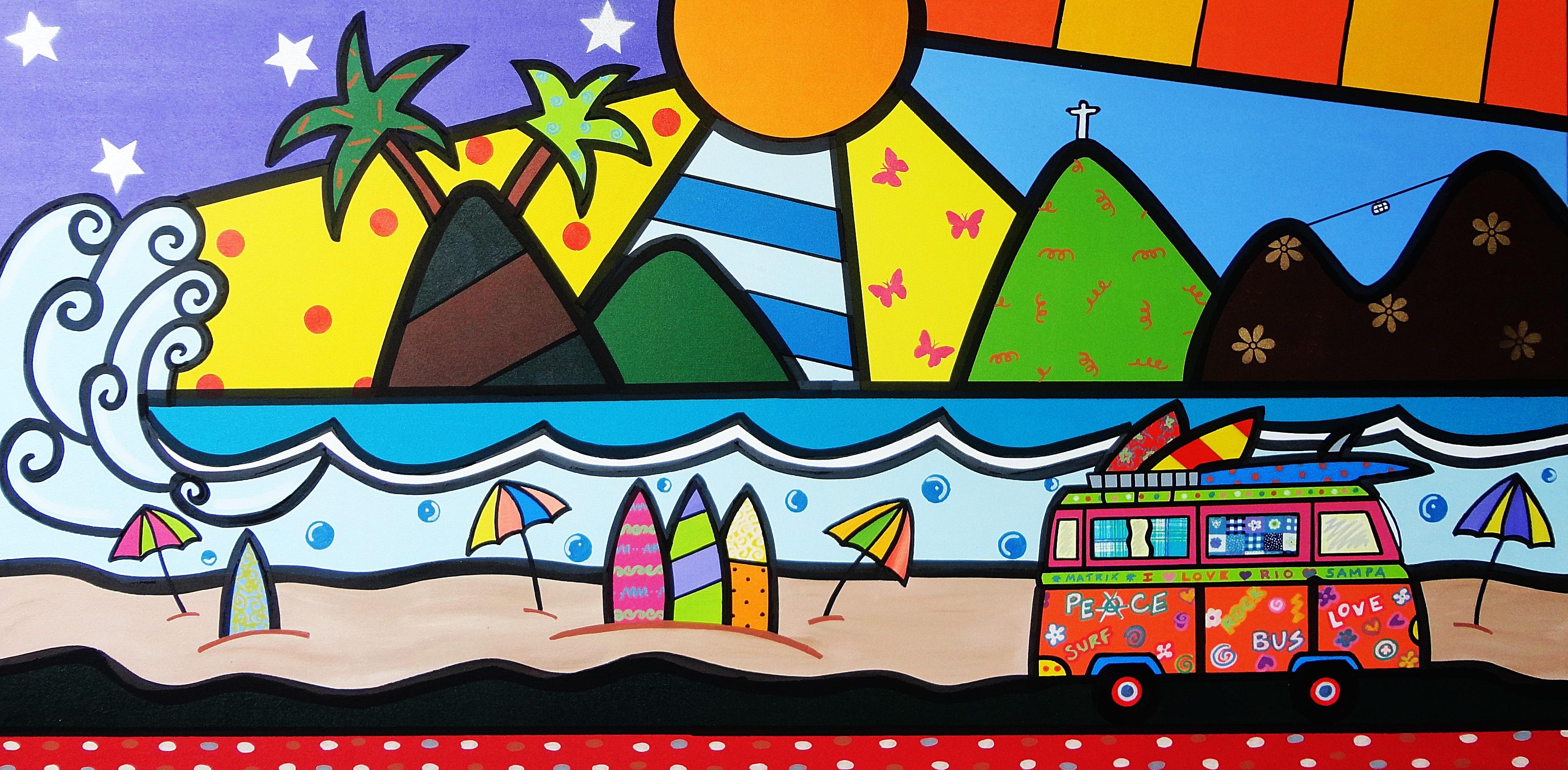 Painel Minha Praia ATELIÊ DE ARTES PLÁSTICAS BY LUCIANA SEVERO  #BEB50D 3470x1705