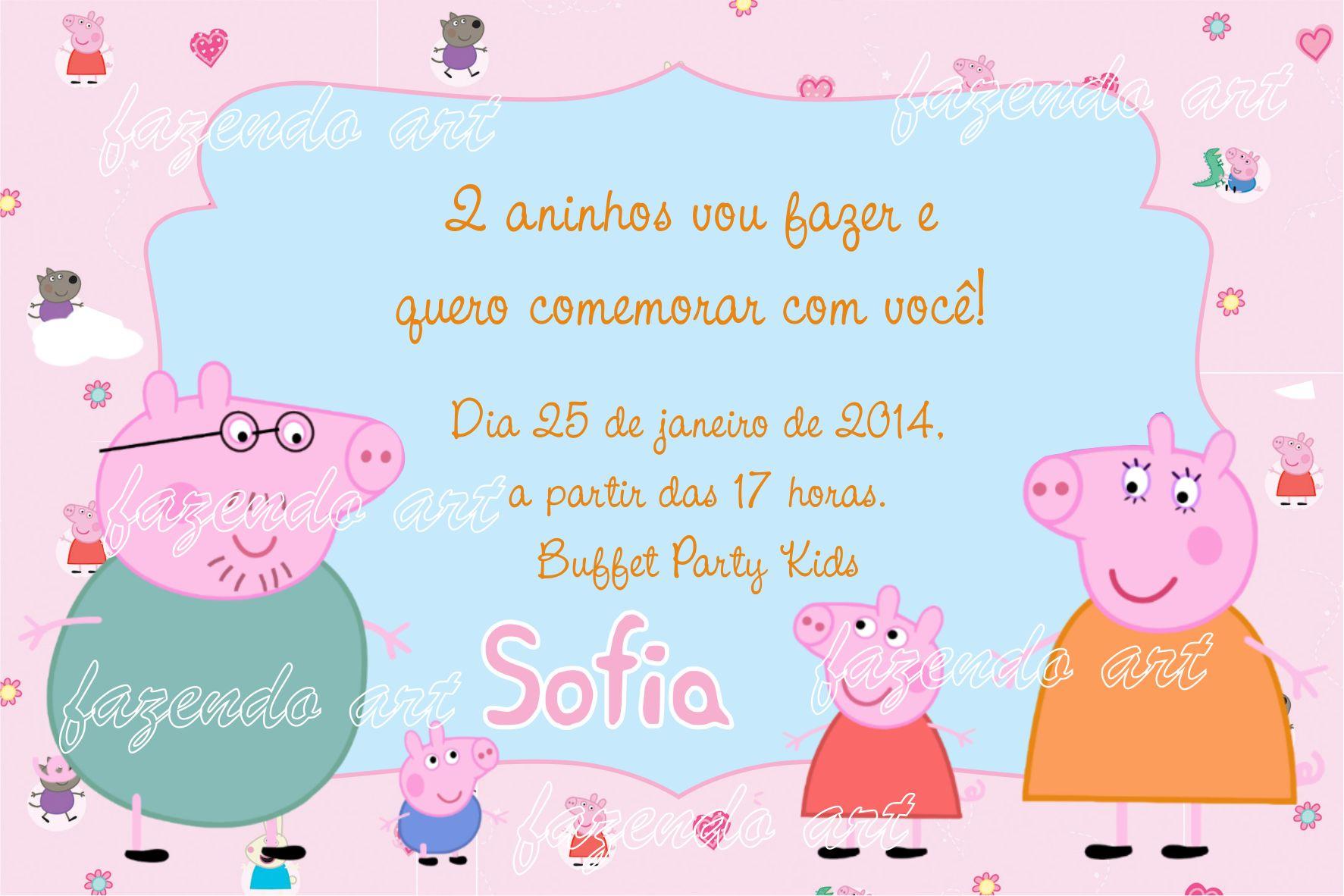 """Convites Aniversário Prontos """"Peppa Pig"""" para Imprimir - CALLY'S"""