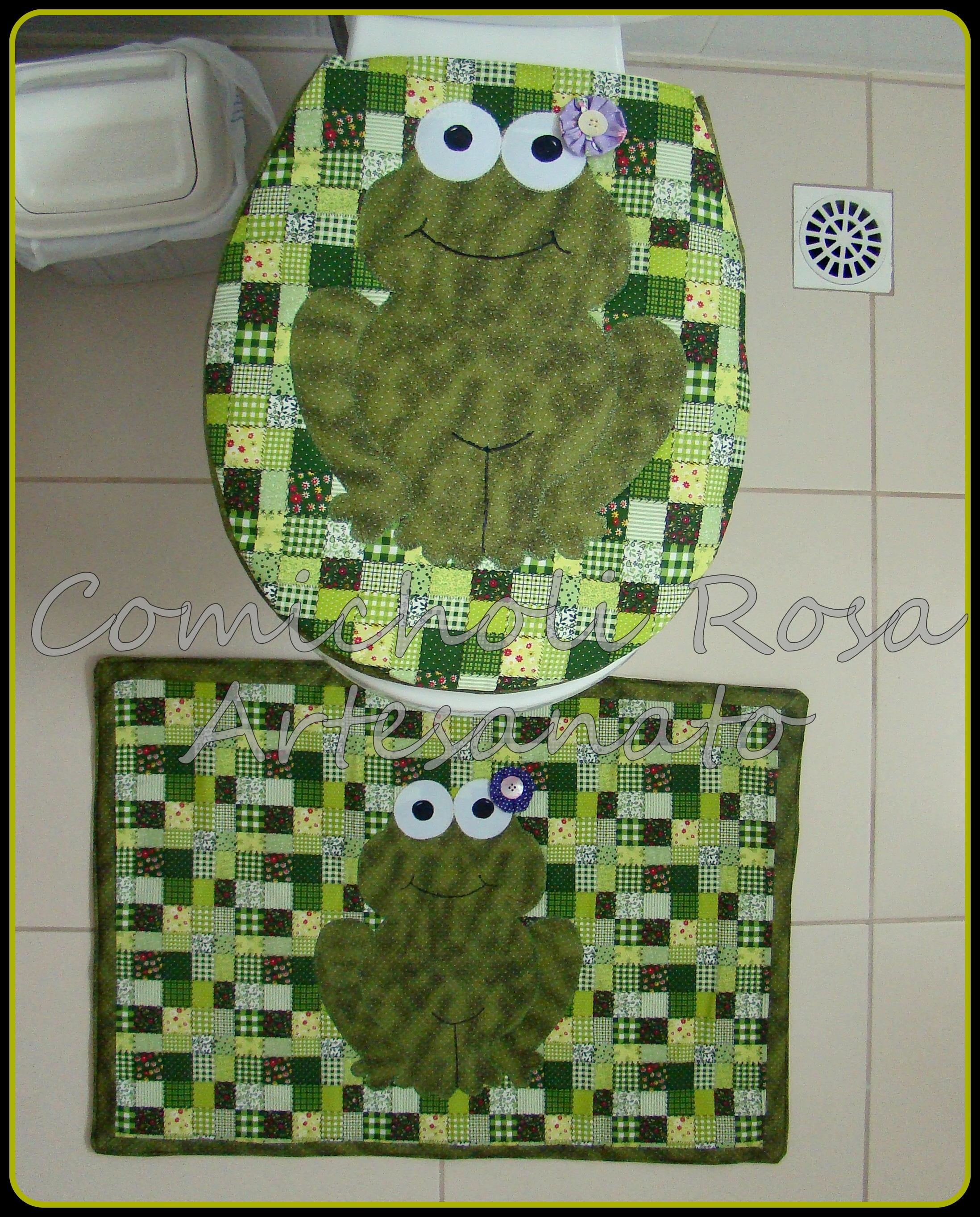 jogo de banheiro sapo gato jogo de banheiro #9FA625 2196 2729