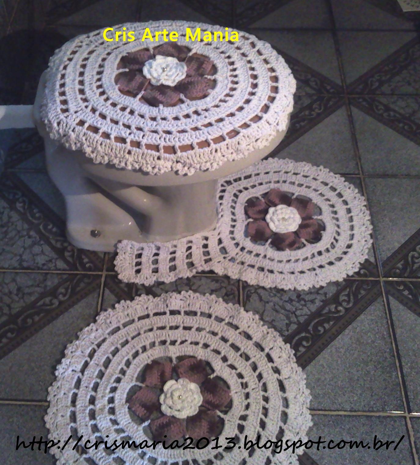 Jogo De Banheiro Classic Rosa Passo A Passo : Tapete de barbante flor dlia tampa vaso em