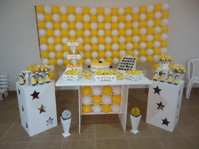 decoracao amarelo e branco festa amarelo e branco