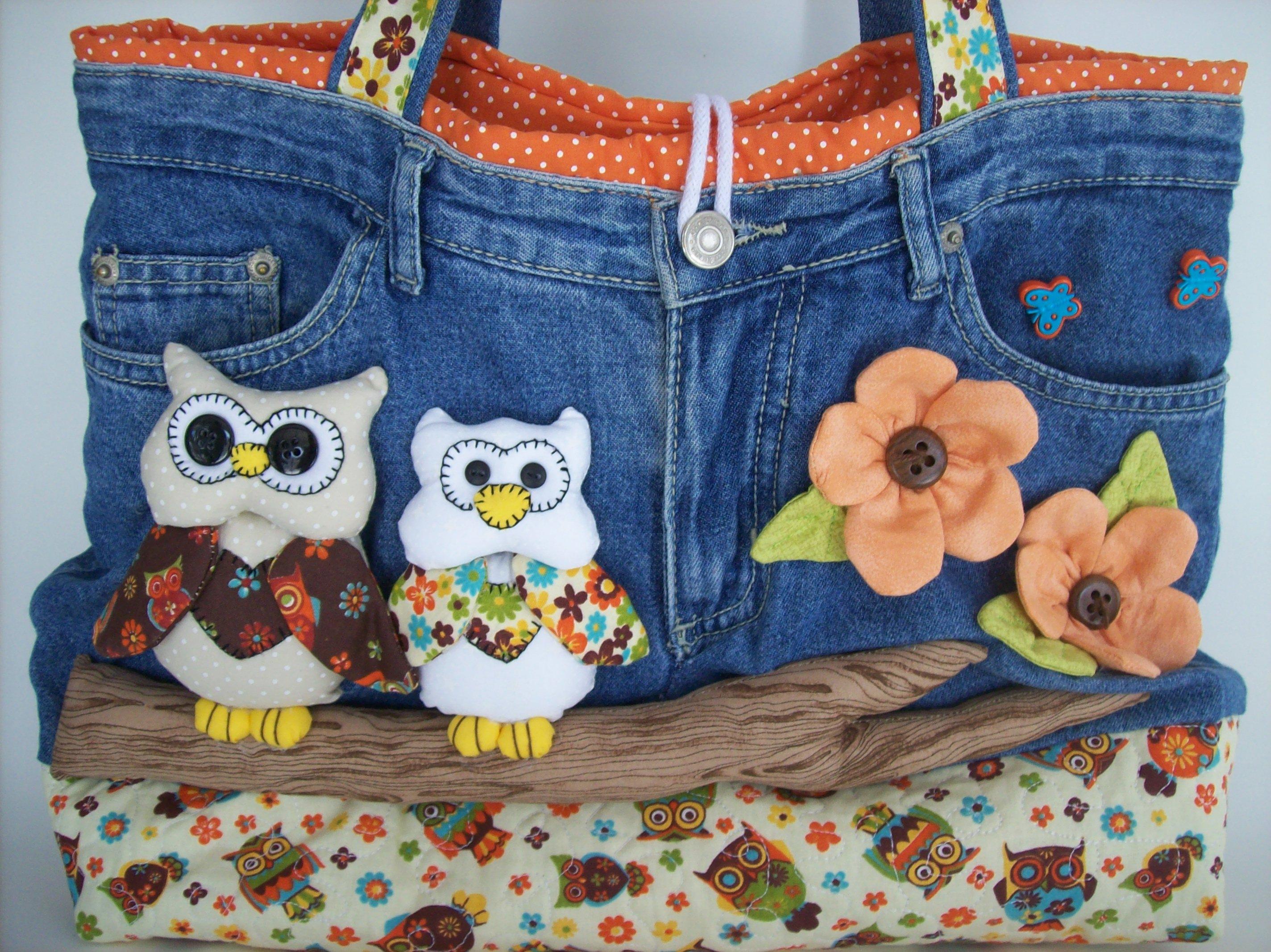Bolsa De Tecido E Jeans : Bolsa jeans quot corujas no galho dianne pedrosa elo