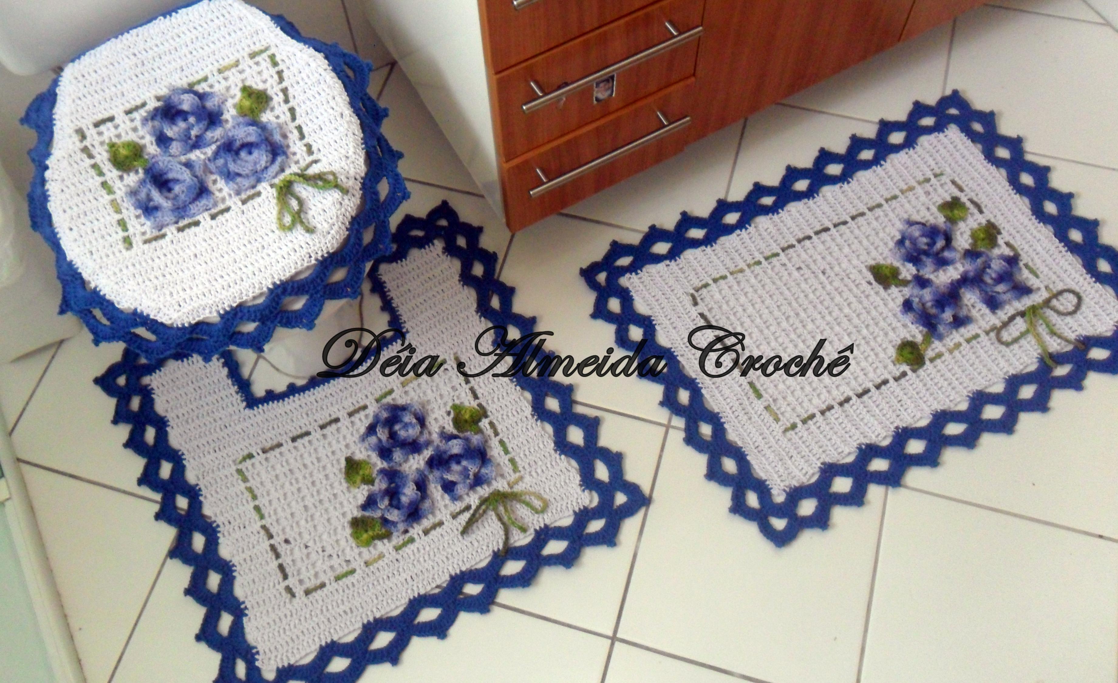 Jogo De Banheiro Azul Floral Ateliê Déia Almeida Elo7 #6C301E 3682x2248 Banheiro Com Azul
