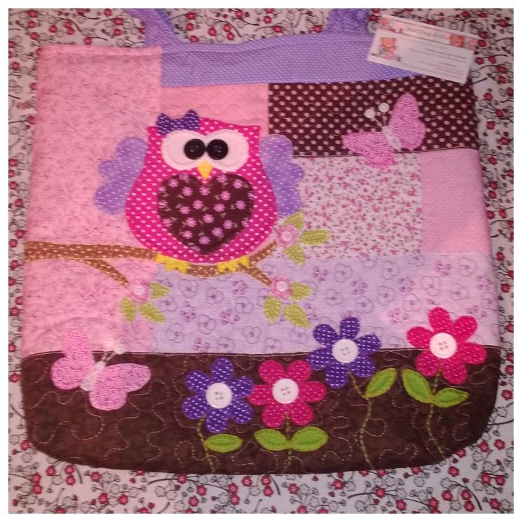 Bolsa De Tecido Quiltada : Bolsa tecido coruja lilas rosa e marrom pat faz art s