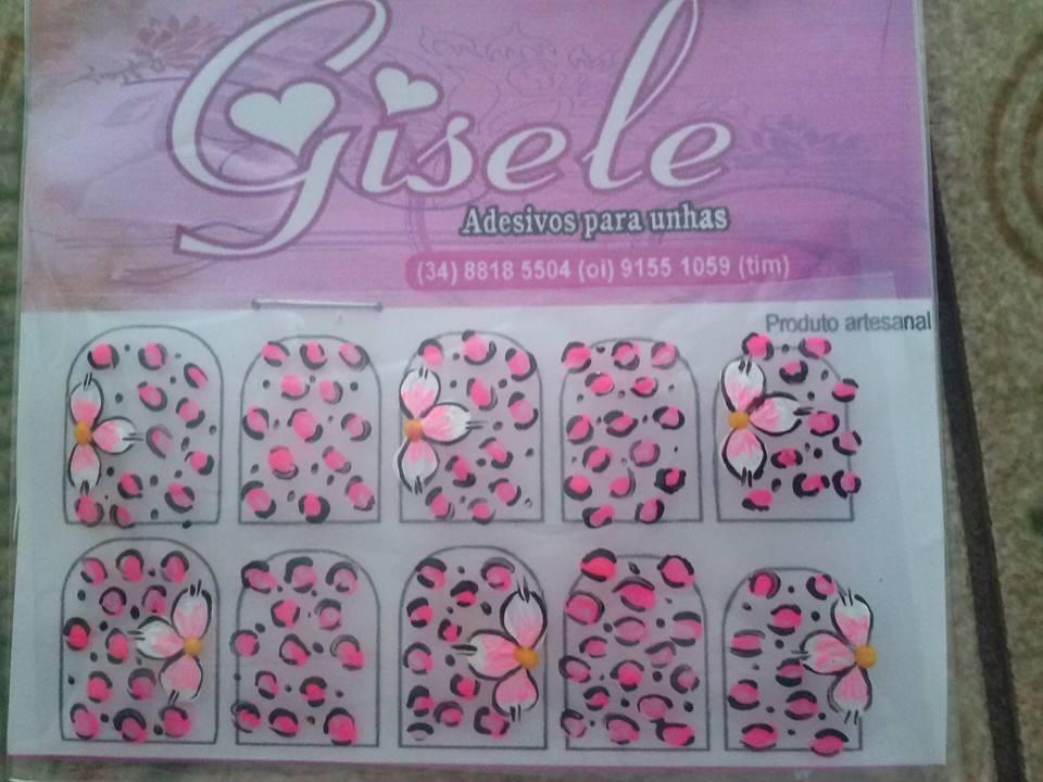 Armario Hemnes Segunda Mano ~ Flores com Oncinha rosa Gisele Adesivos para unhas Elo7