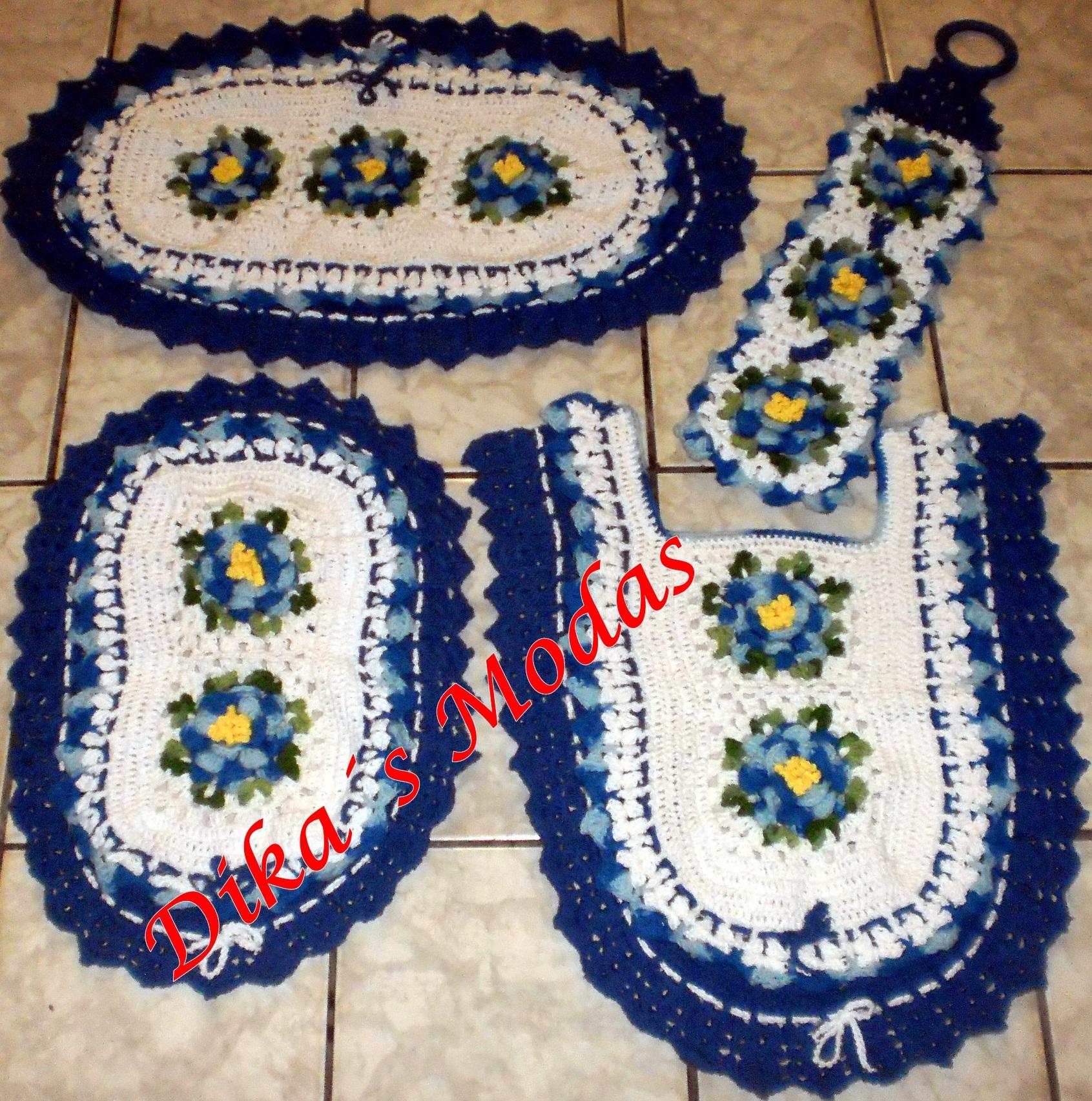 de Artesanato > Crochê > Jogo de Banheiro Azul e Branco 4 pçs #C00B0C 1691x1706 Banheiro Branco E Azul