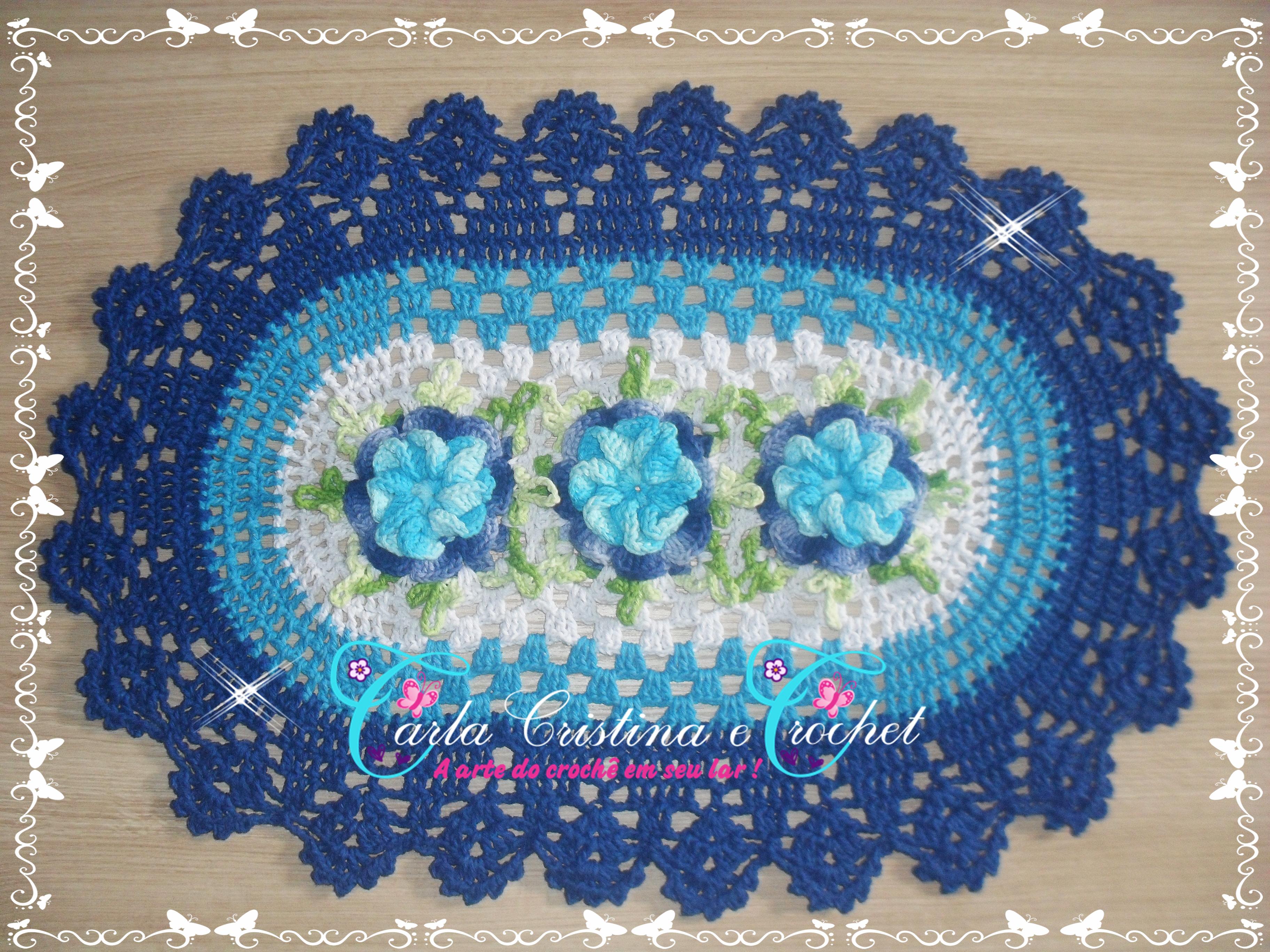 Tapete em Barbante Flor Caracol Azul carla cristina e crochet Elo7 #218EAA 3648x2736 Banheiro Azul