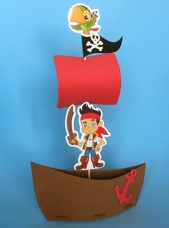 Barco Pirata Vela Azul | M&M Lembrancinhas | Elo7