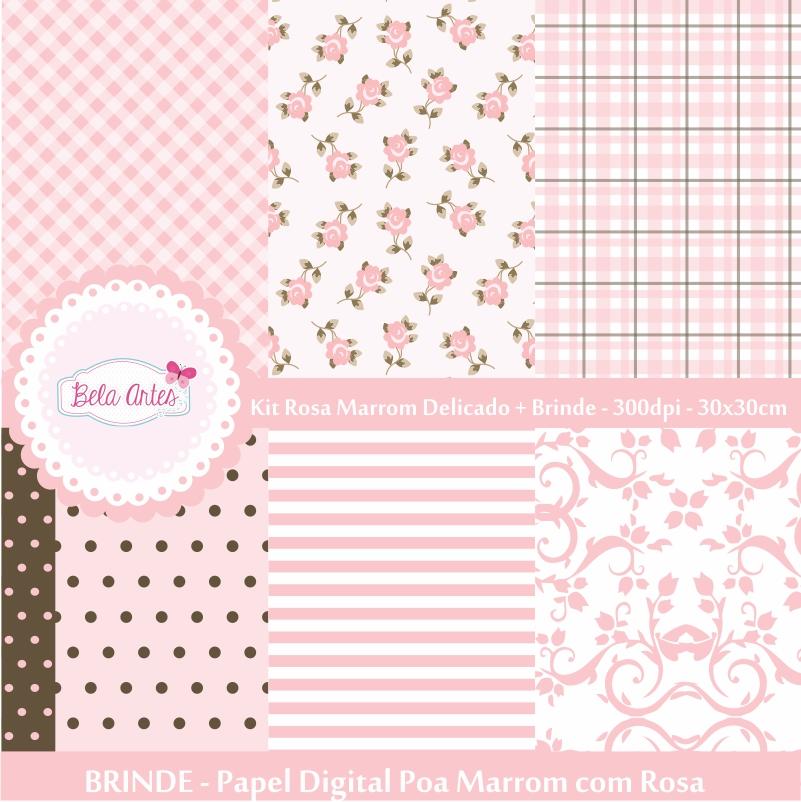 Kit papel digital rosa marrom delicado papel digital arabesco e floral