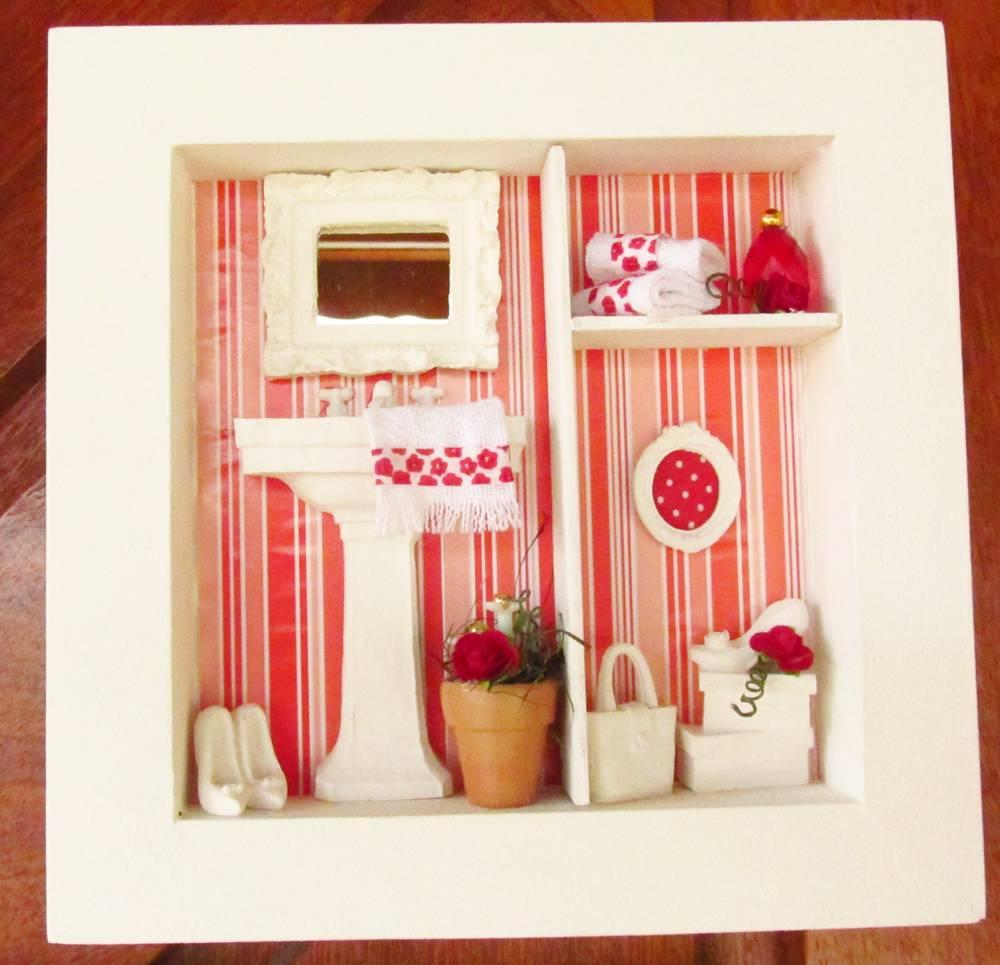decoracao de banheiro vermelho e branco: de-banheiro trio-de-quadros-vermelho-e-branco-decoracao-para-banheiros
