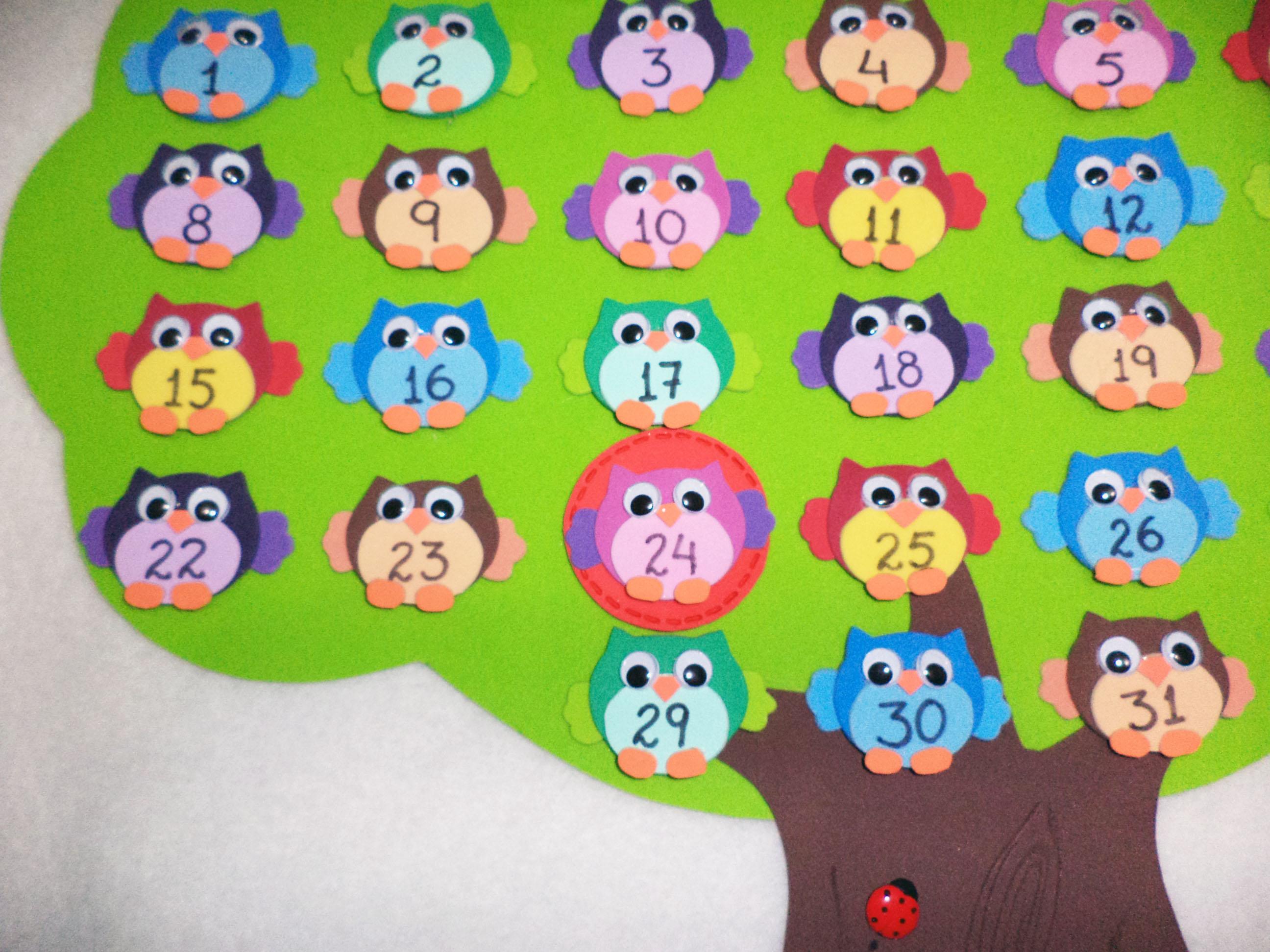 decoracao de sala aula educacao infantil : decoracao de sala aula educacao infantil:calendario-permanente-corujinhas-sala-de-aula calendario-permanente