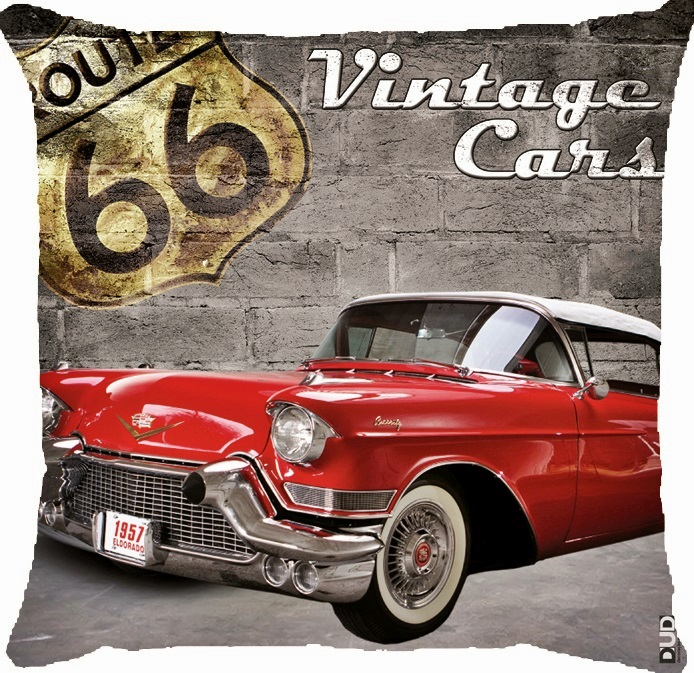 Almofada vintage route 66 red car store brasil elo7