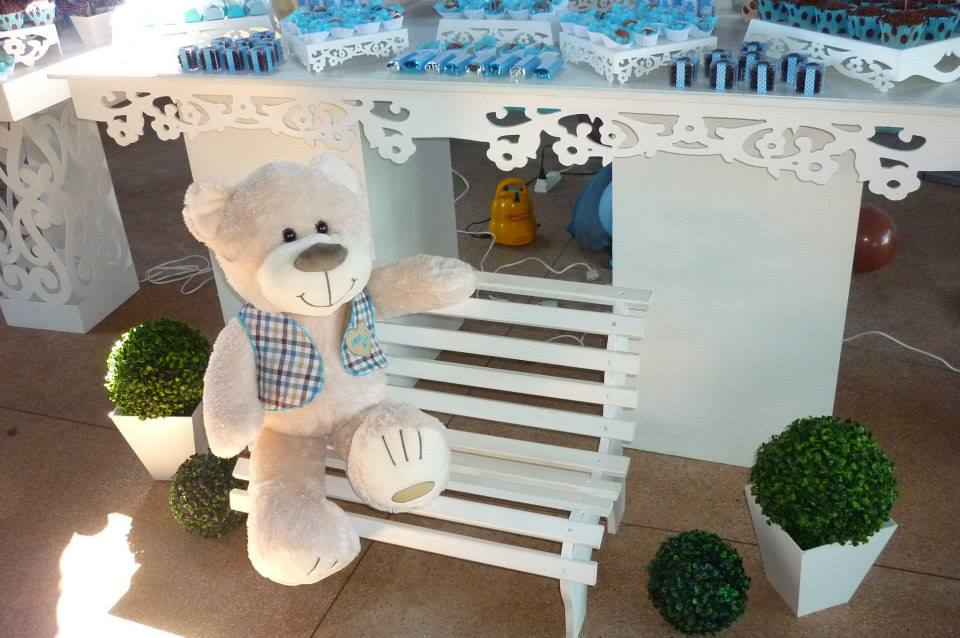 decoracao festa urso azul e marrom:decoração chá de bebê urso azul e marrom