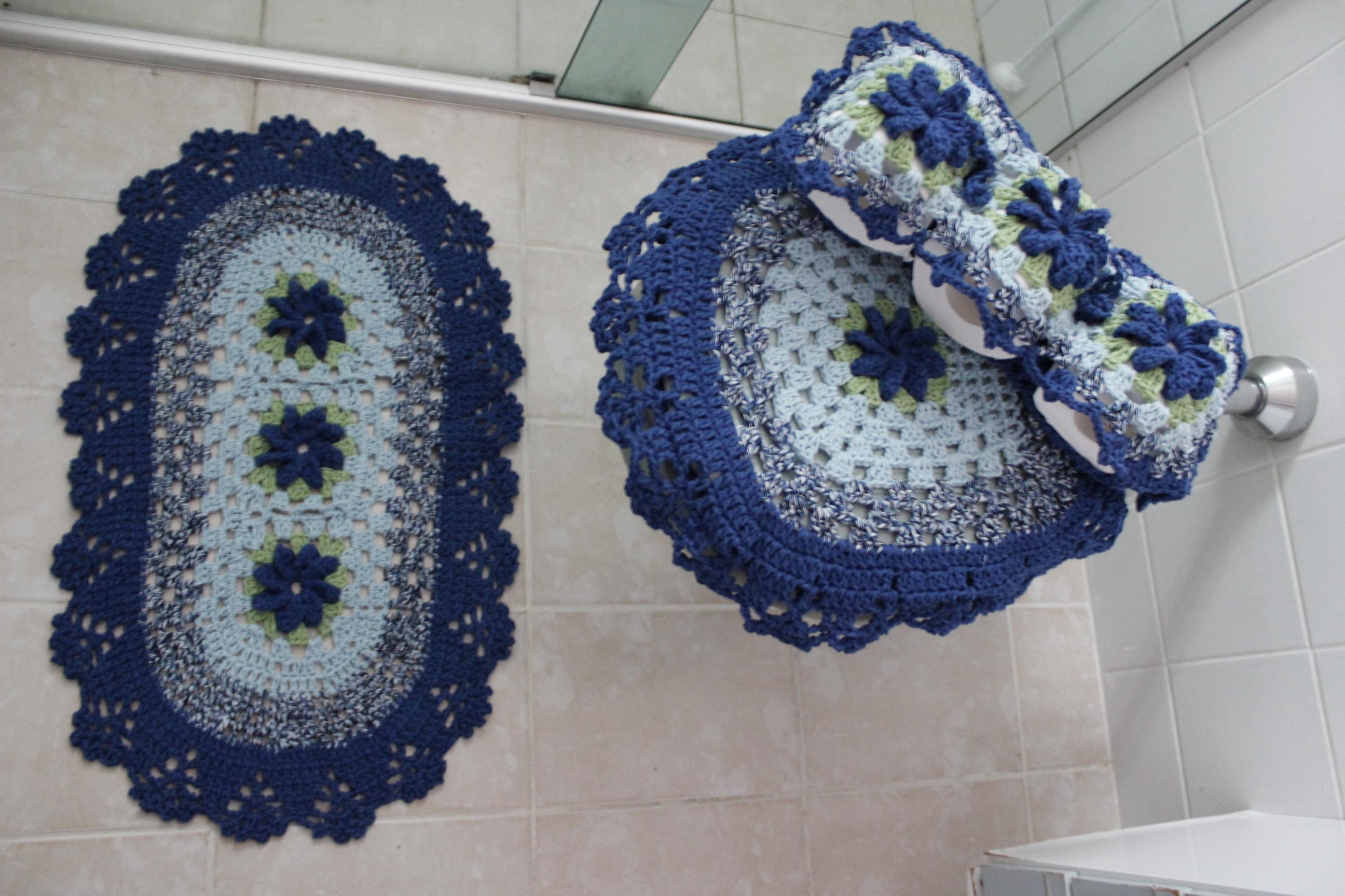 Jogo De Banheiro Azul Em Croche : Jogo de banheiro pe?as atelie pontos e la?adas elo
