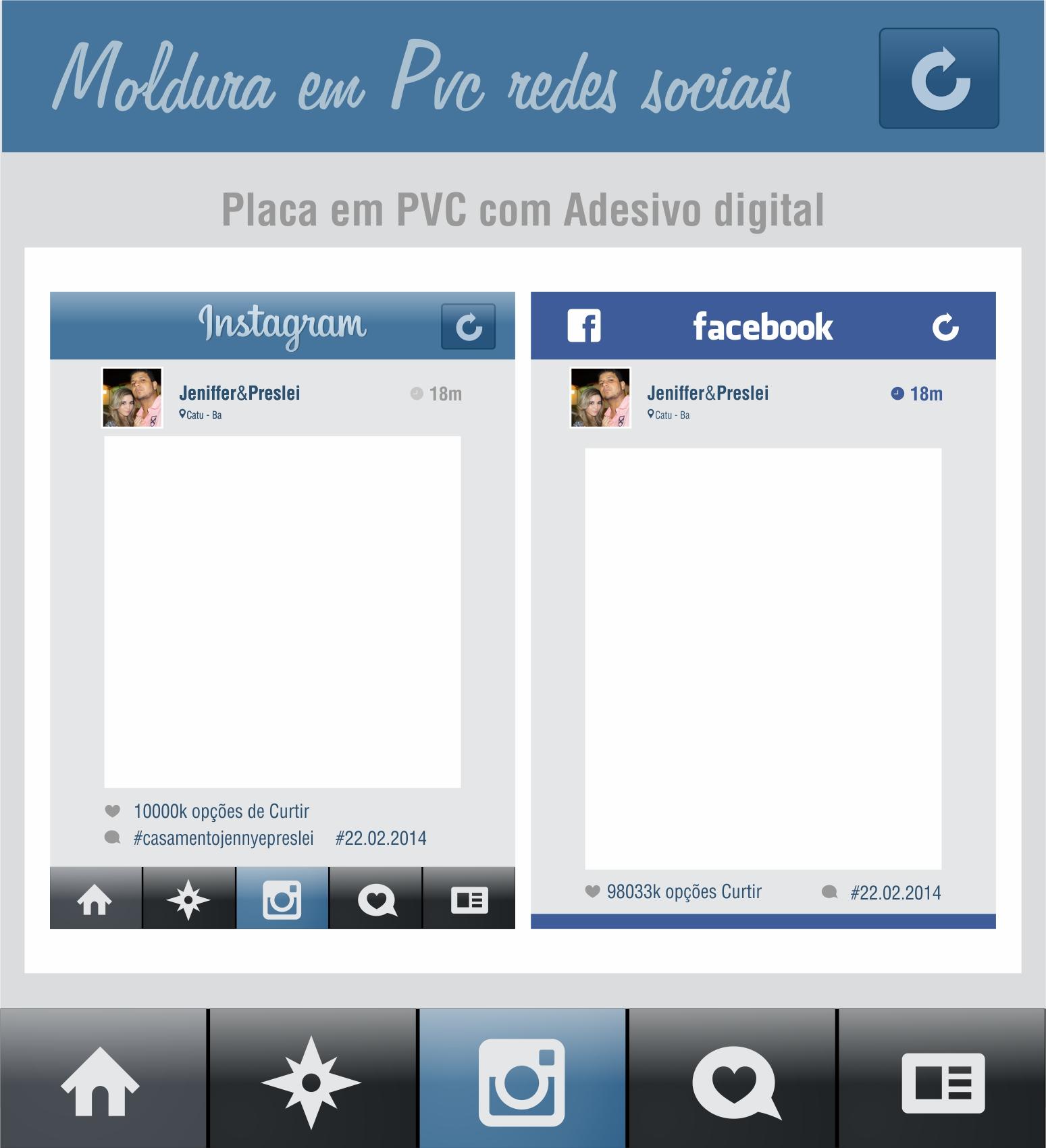 placa moldura pvc instagram face 50x30 dzain comunica o elo7. Black Bedroom Furniture Sets. Home Design Ideas