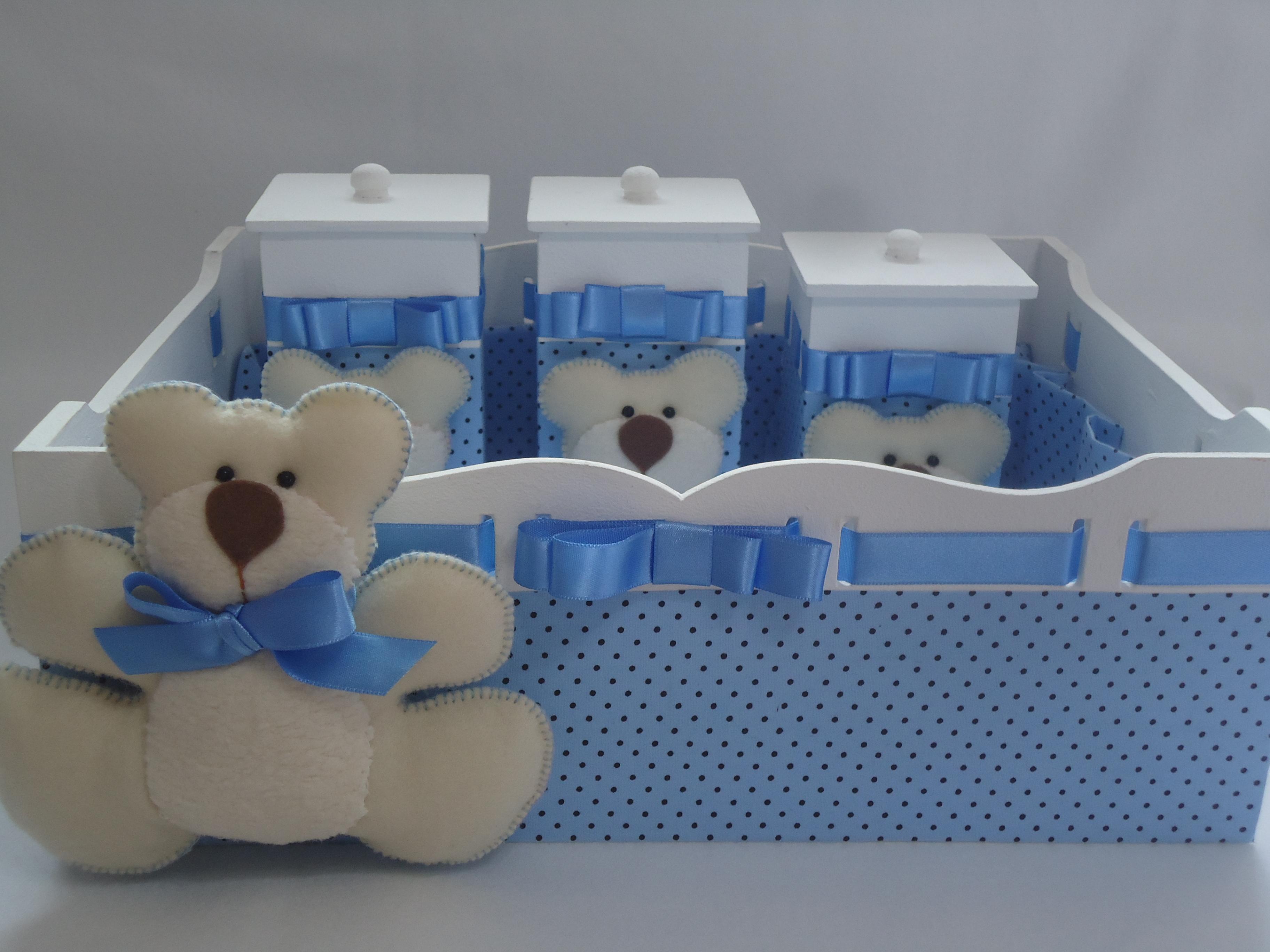 Kit Higiene Beb u00ea Urso Azul com Poás Ternura em Feltro Elo7 -> Como Decorar Kit Higiene Bebe Com Tecido