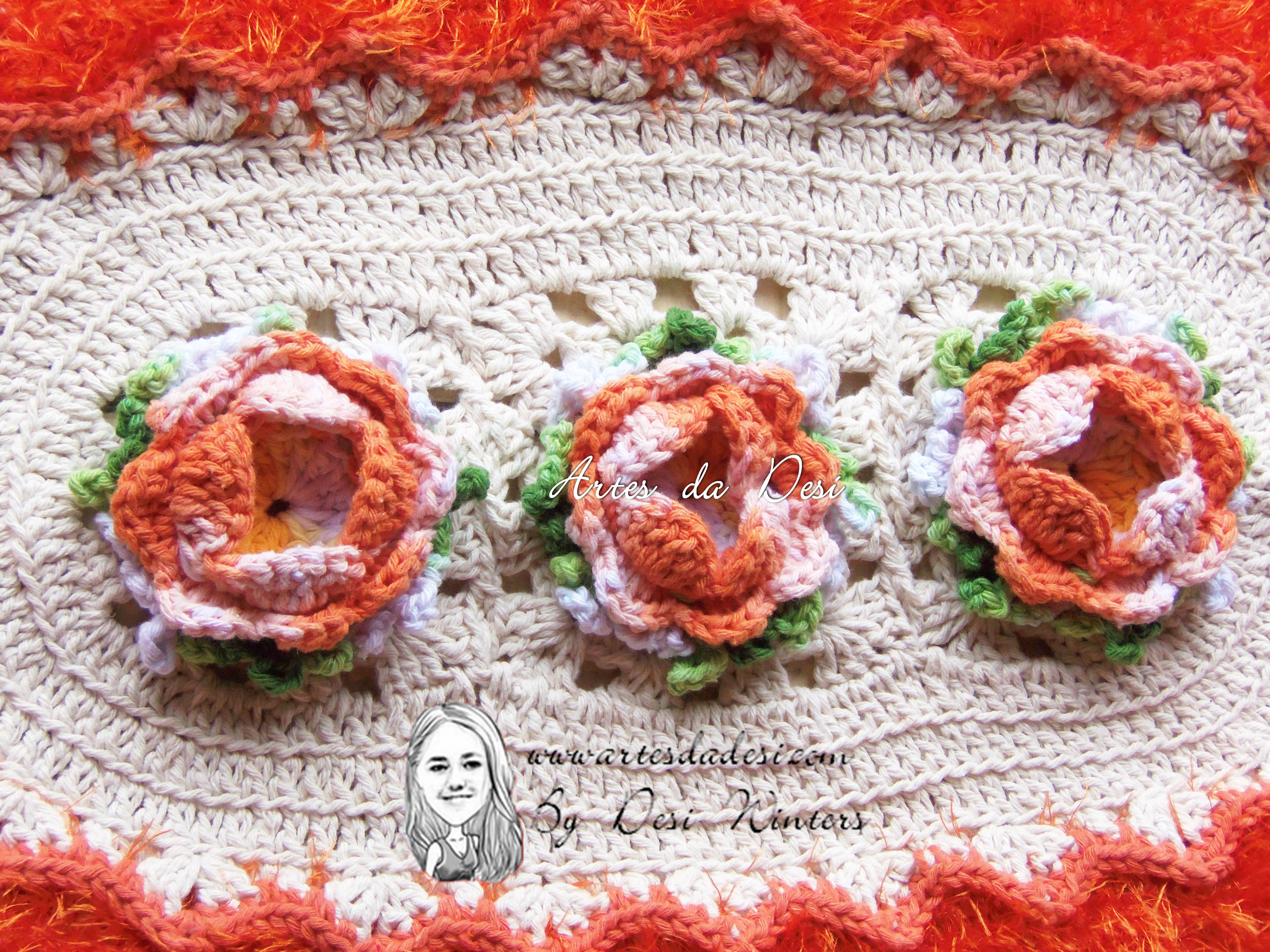Tapete de croch rosa franzida artes da desi elo7 for Rosa tapete