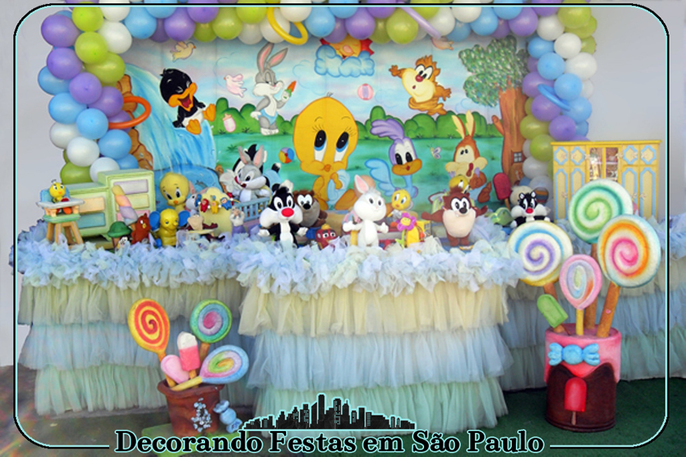 Decora o mesa baby looney tunes decorando festas em s o for Baby looney tune decoration