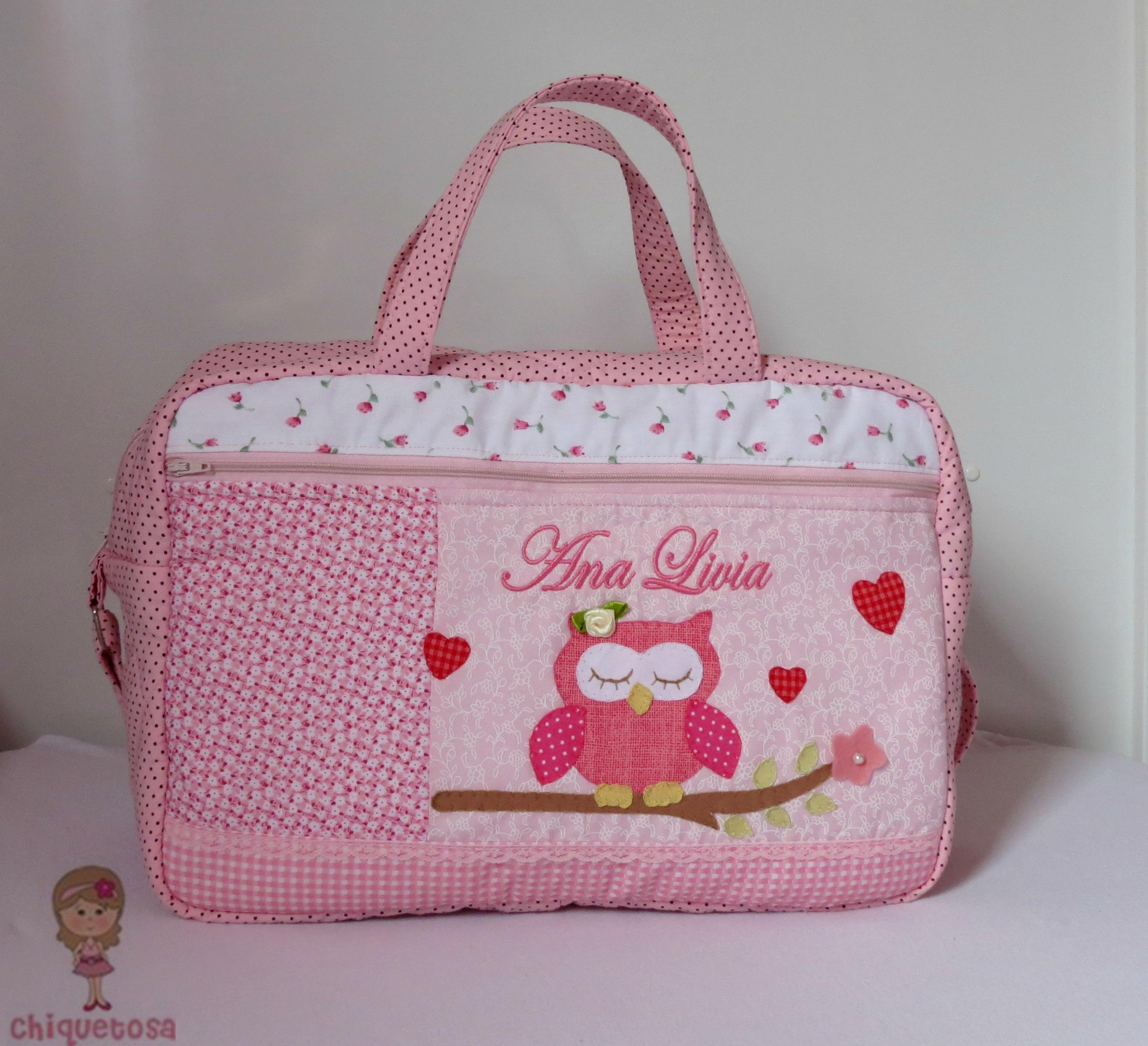 Bolsa De Tecido Bebe : Bolsa de beb? porta fraldas port?til ateli? chiquetosa