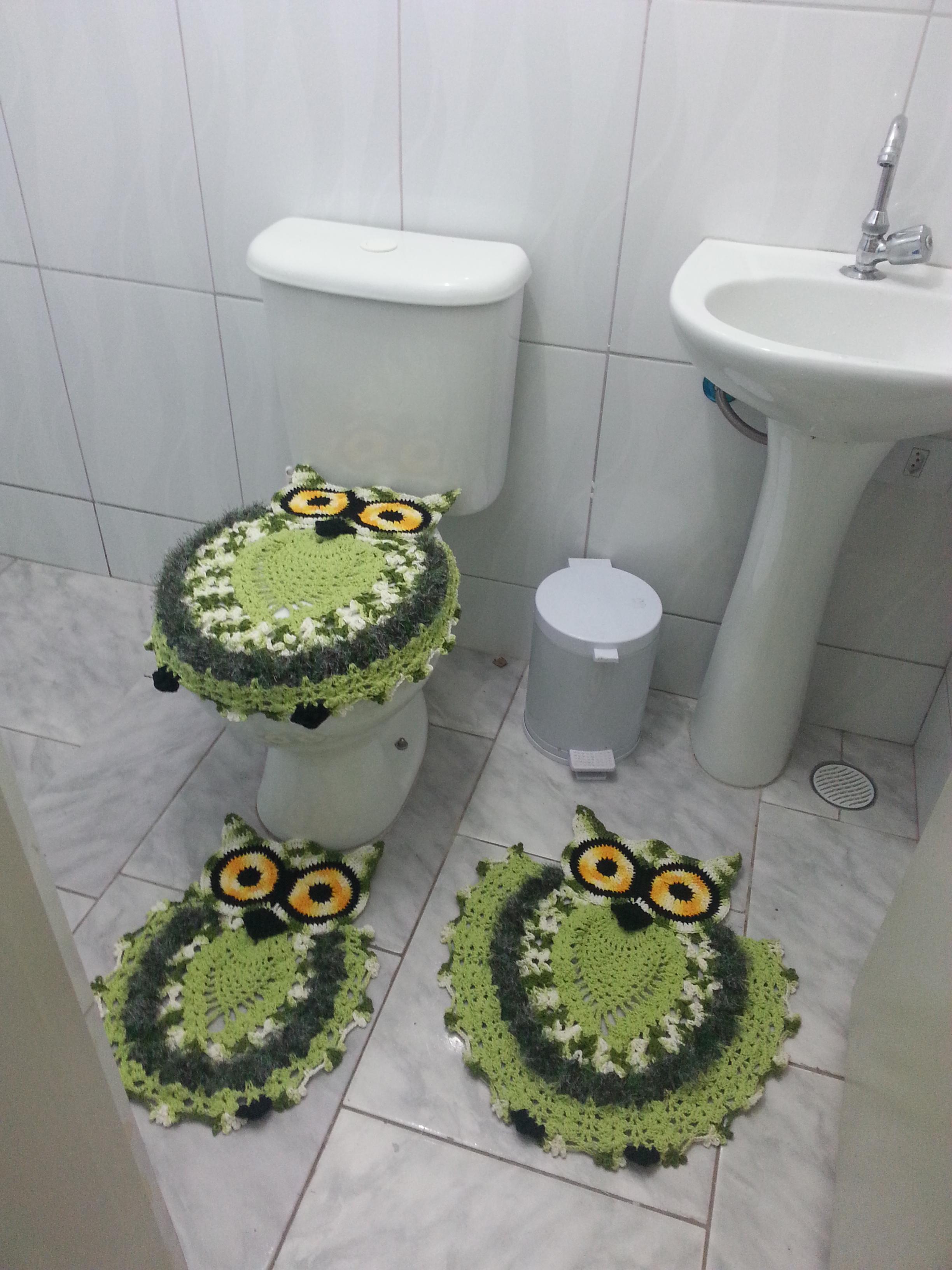 Jogo De Banheiro Verde E Branco : Jogo de banheiro coruja verde pe?as atelier priscila