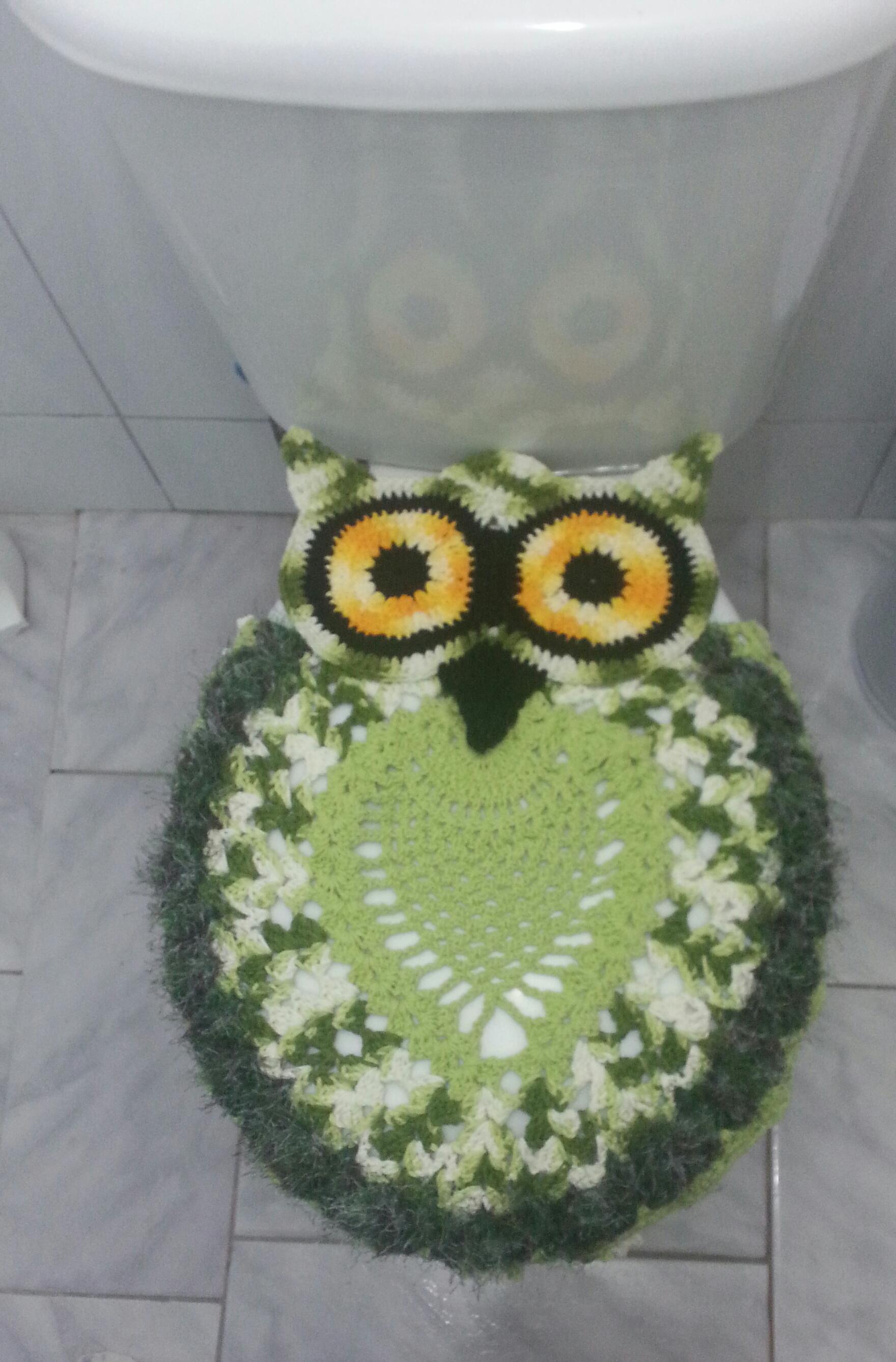 Jogo de banheiro coruja verde e branco : Jogo de banheiro coruja verde atelier priscila luz elo