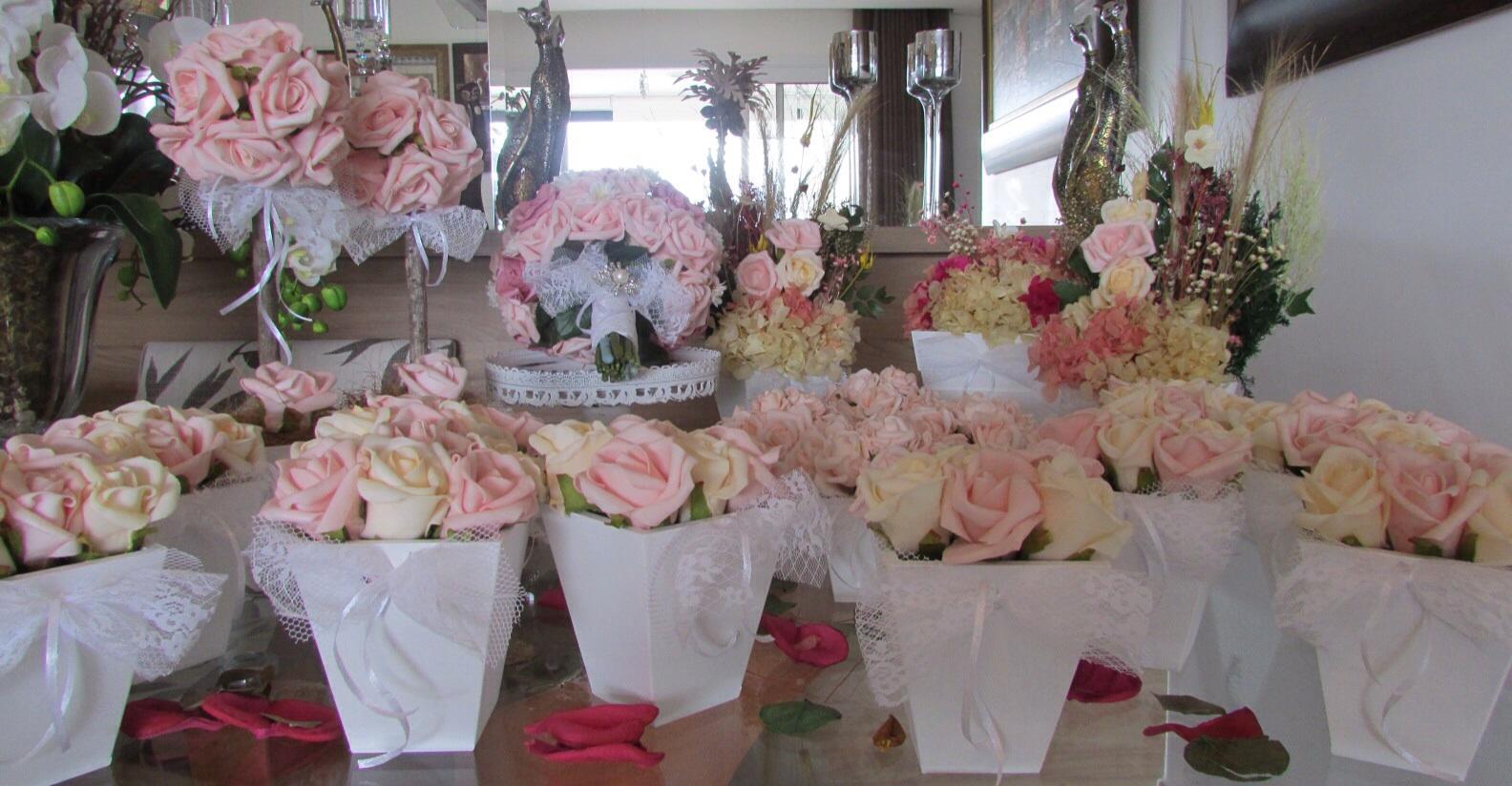 kit decoracao casamento:kit mini casamento rosa com rendas i decoracao provencal kit