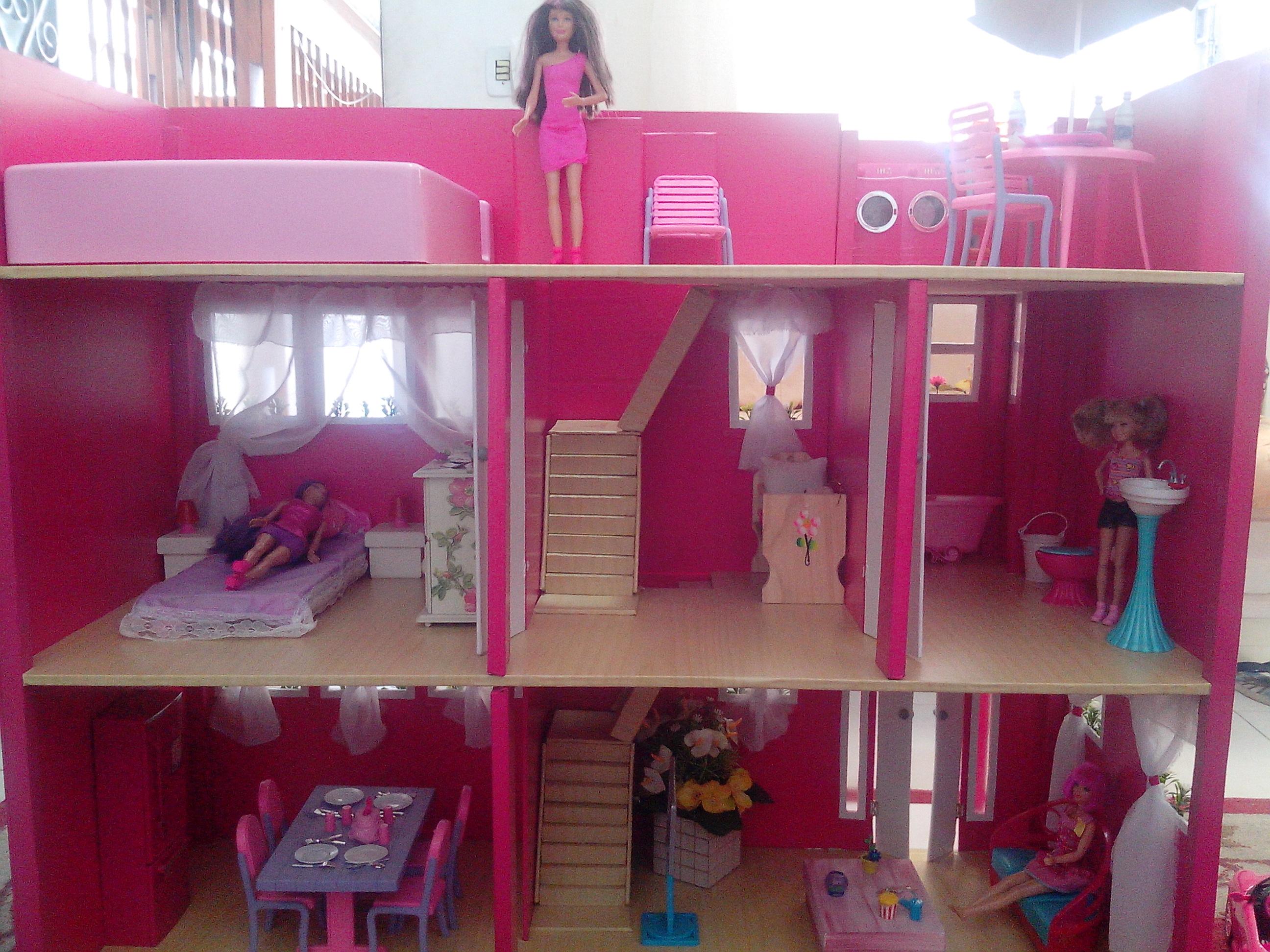 barbie natal casa de boneca para barbie casa de boneca casa de boneca #6E1E39 2592x1944 Banheiro Da Barbie De Papelão