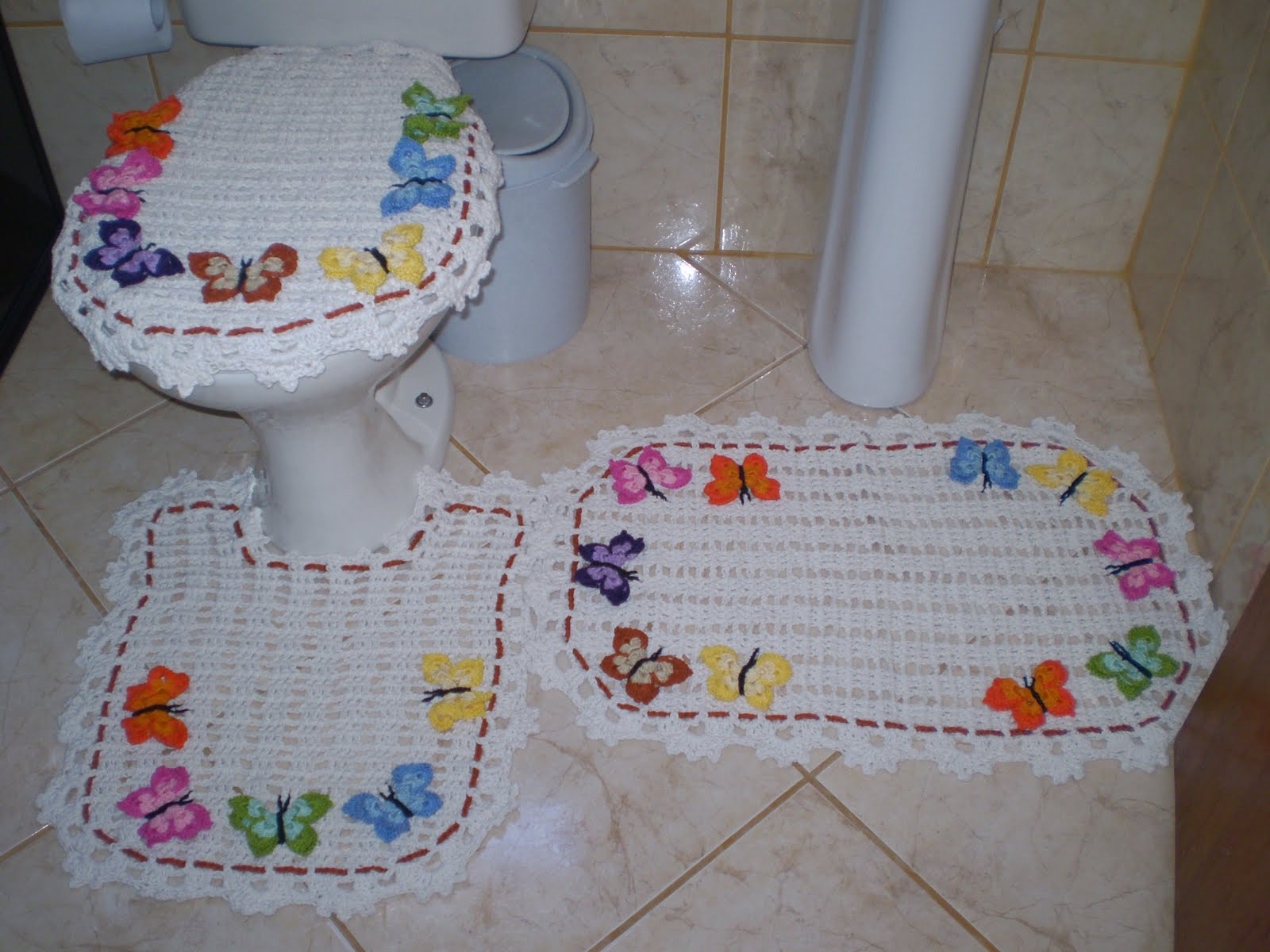 Jogo banheiro 3 p?s com borboletas FAZENDO CROCH? COM ...