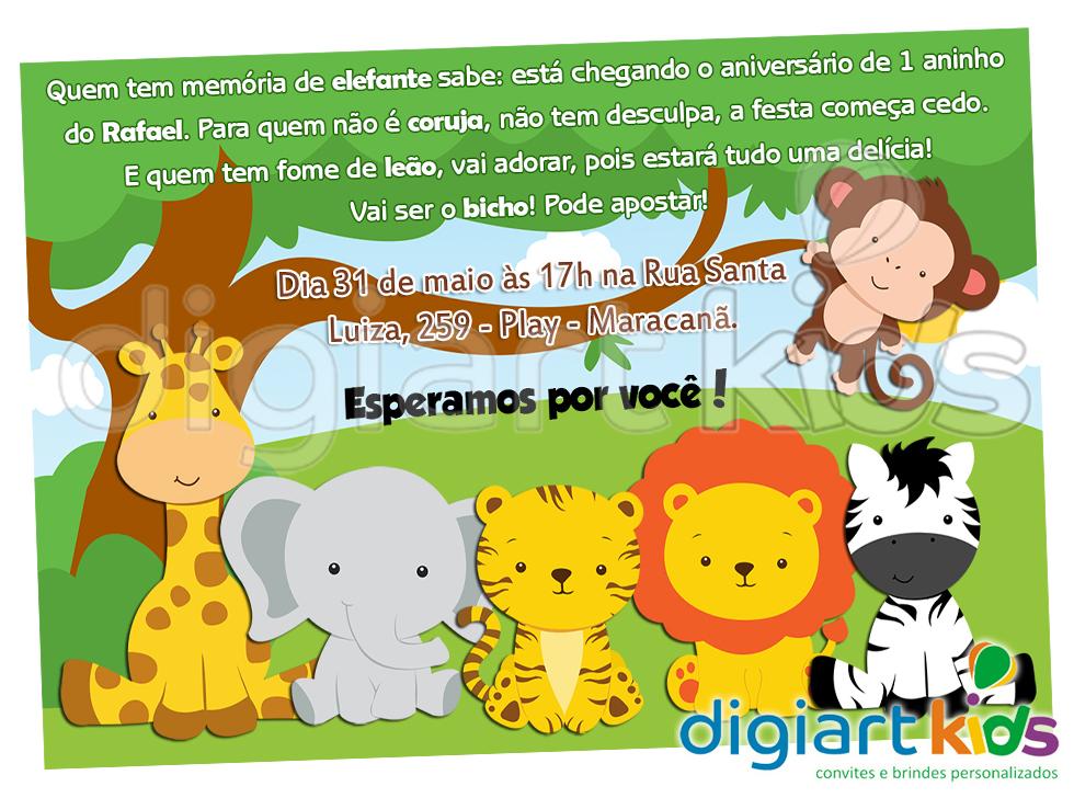 convite safari ou floresta