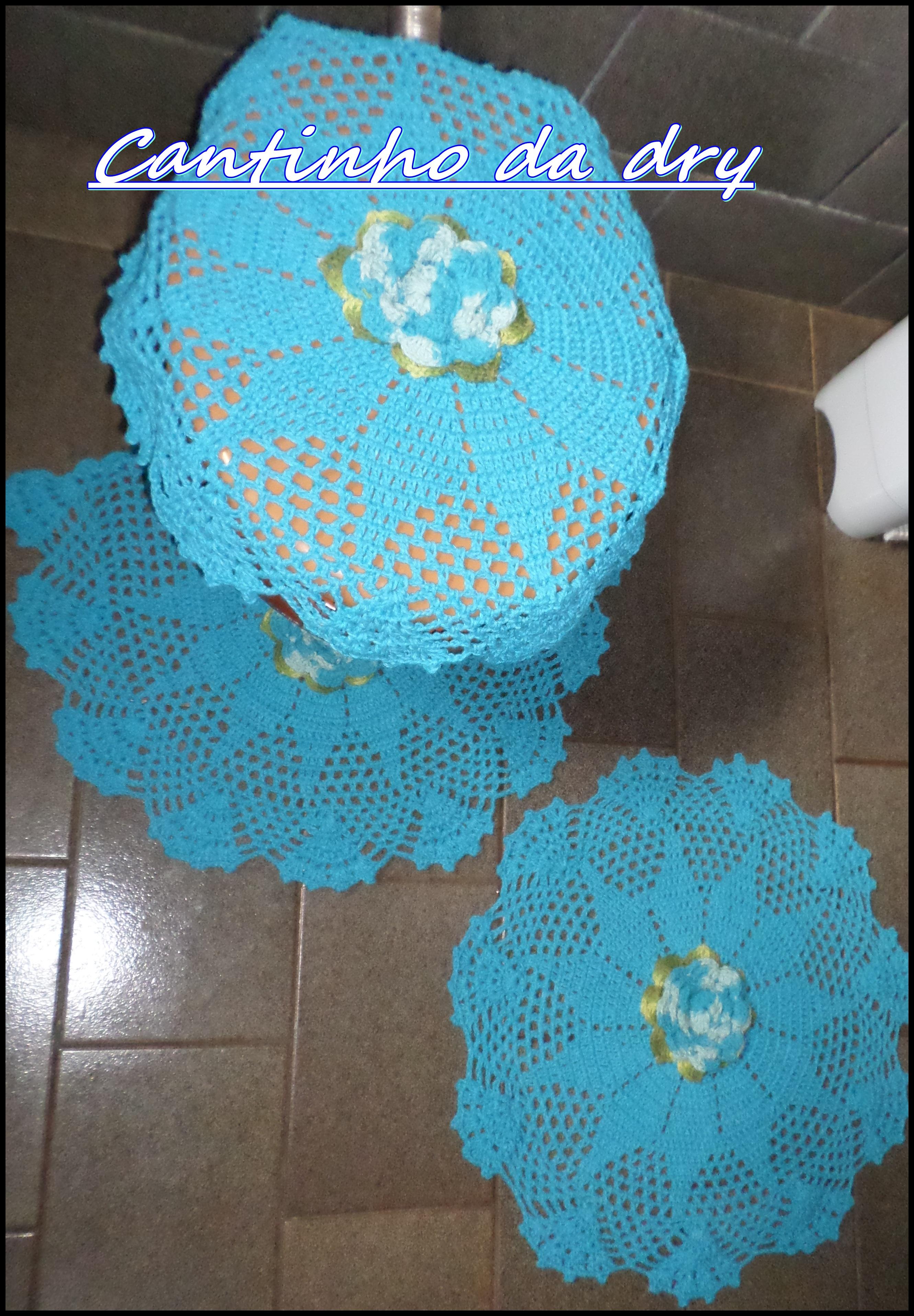 Jogo de banheiro turqueza (FRETE GRATIS)  Croches por encomendas  Elo7 -> Jogo De Banheiro Simples Em Croche